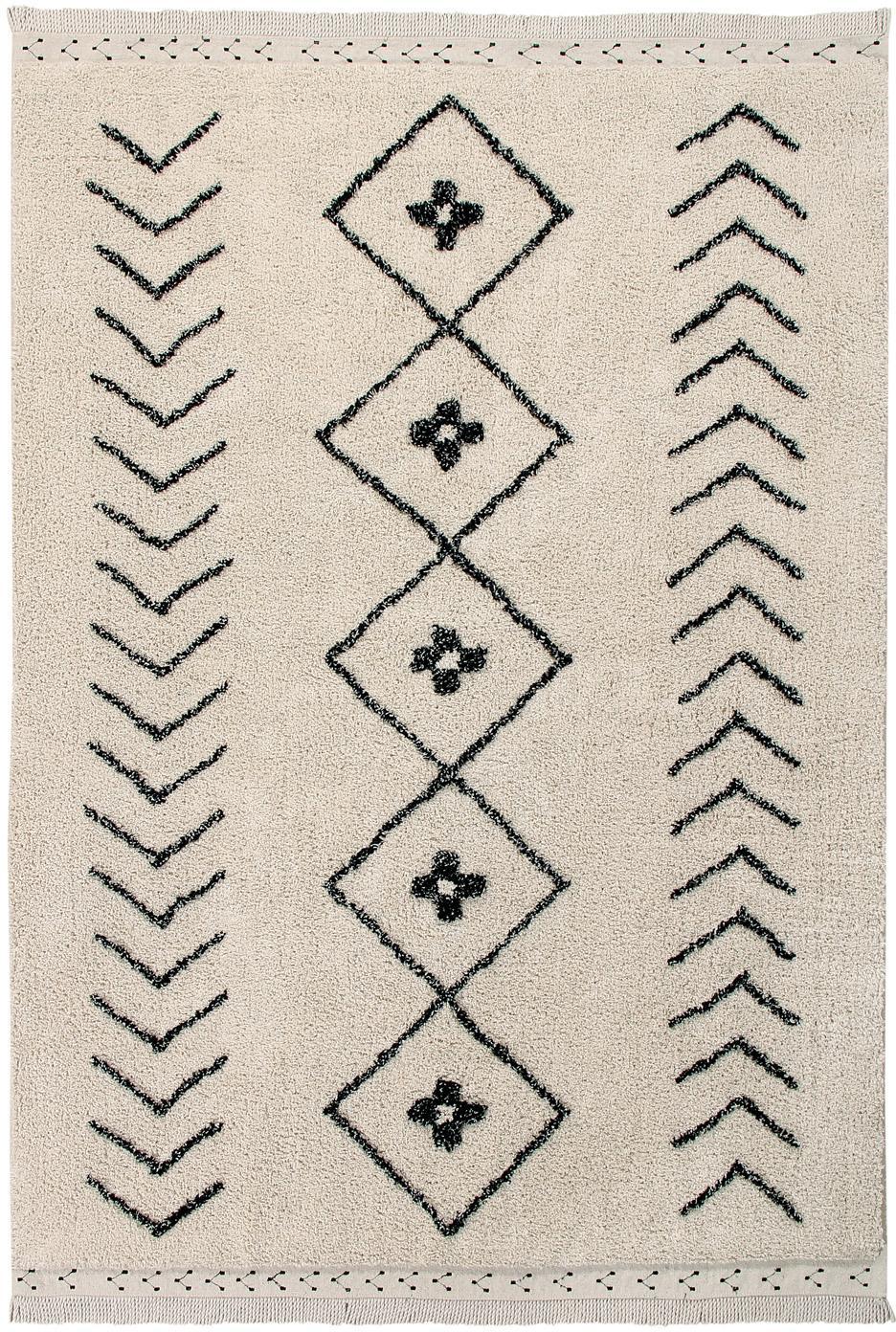 Tappeto in cotone lavabile Barber, Retro: cotone riciclato, Marrone chiaro, nero, Larg. 120 x Lung. 170 cm (taglia S)