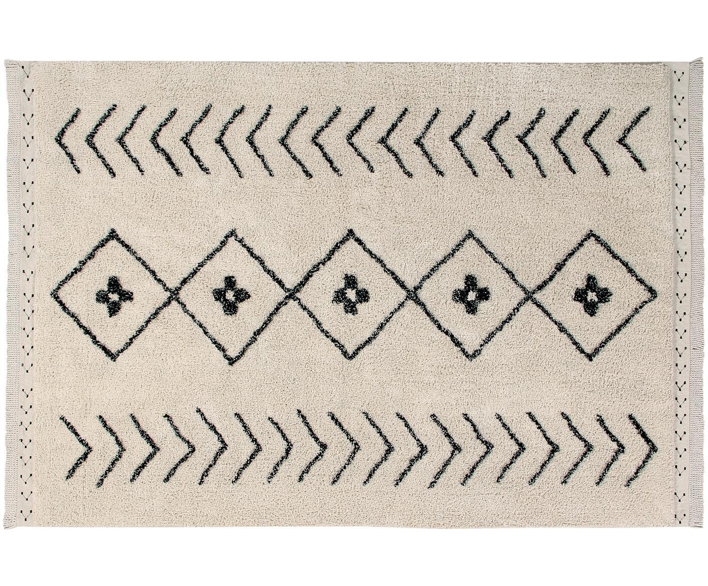 Teppich Barber, Flor: 85% Baumwolle, 15% recyce, Beige, Schwarz, B 120 x L 170 cm (Größe S)