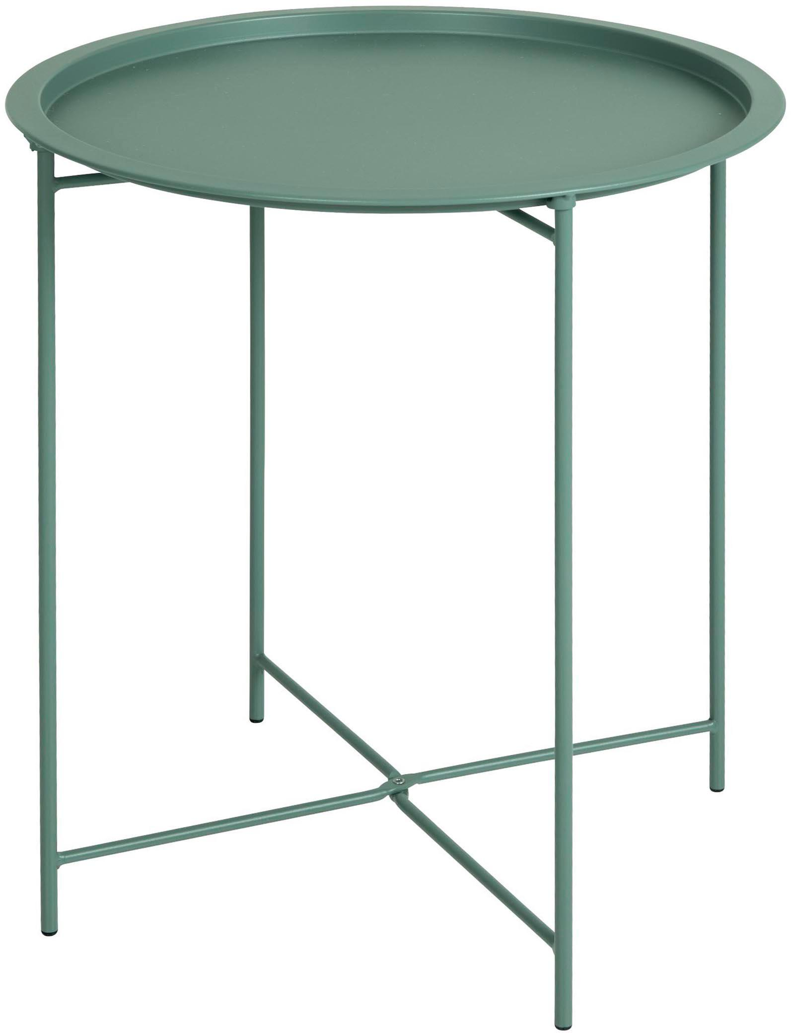 Mesa auxiliar con bandeja extraíble de metal Sangro, Metal con pintura en polvo, Verde, Ø 46 x Al 52 cm