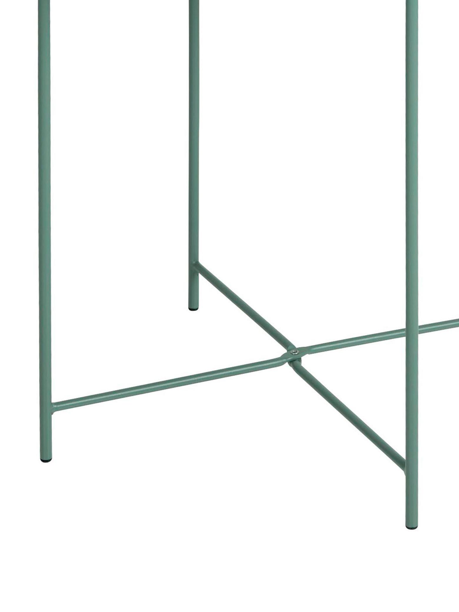 Tavolino-vassoio in metallo Sangro, Metallo verniciato a polvere, Verde, Ø 46 x Alt. 52 cm