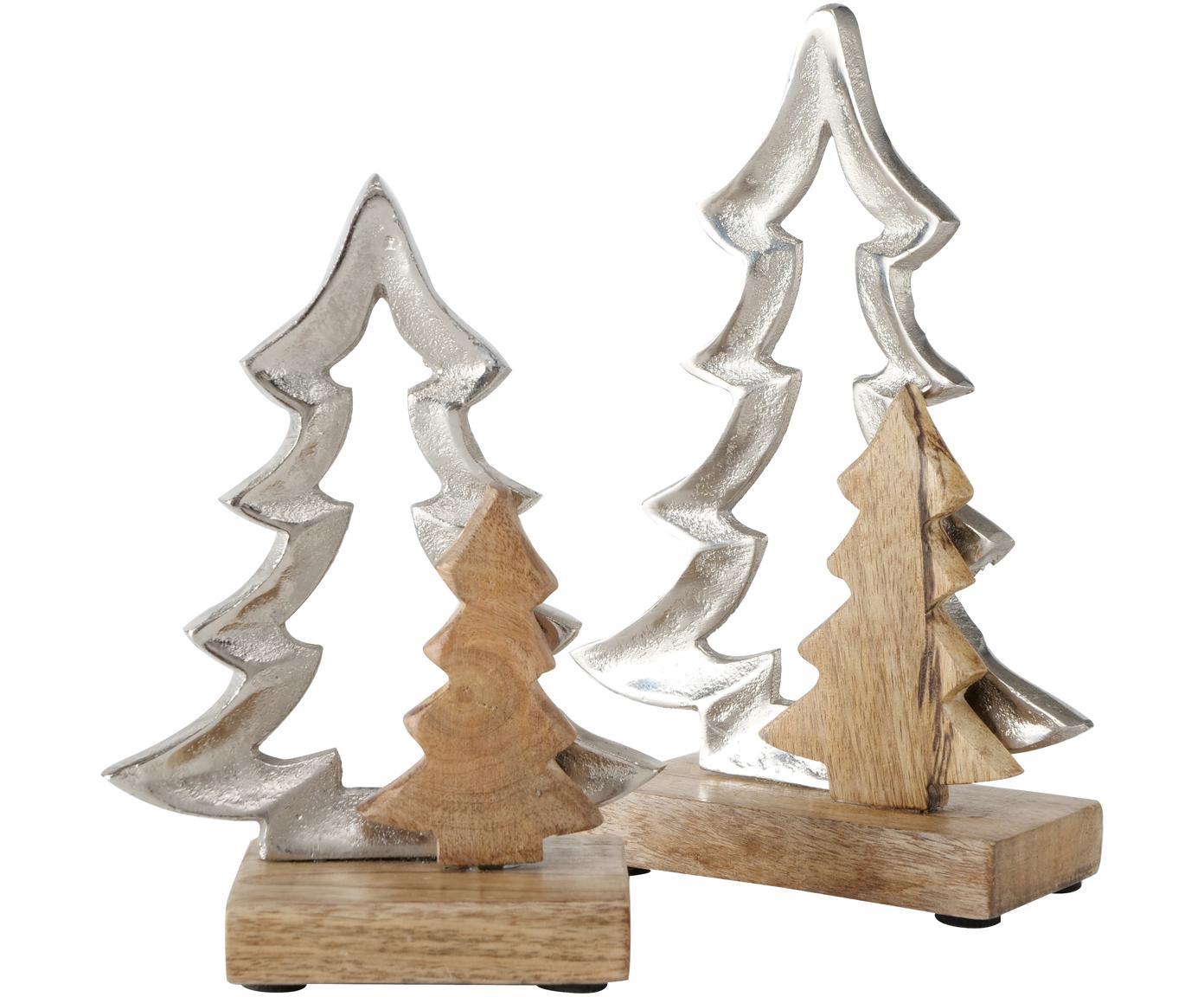 Komplet dekoracji Lollja, 2 elem., Drewno mangowe, metal powlekany, Drewno mangowe, odcienie srebrnego, Różne rozmiary