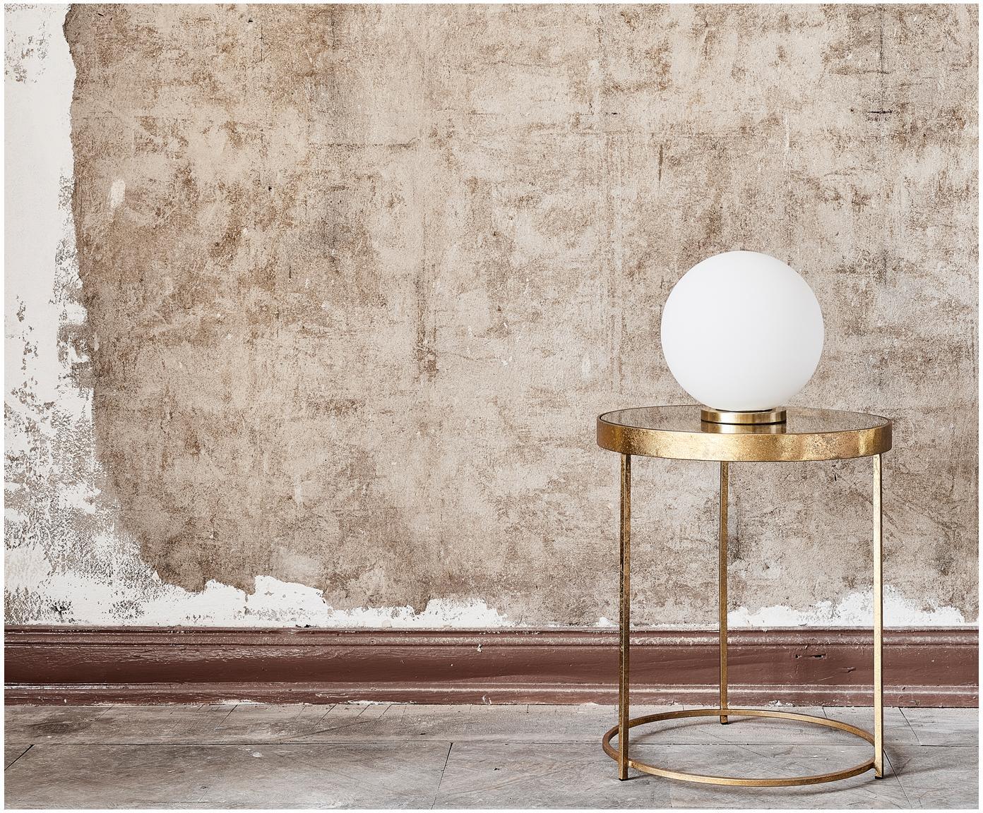 Stolik pomocniczy ze szklanym blatem Butterfly, Blat: szkło, Stelaż: metal powlekany, Odcienie złotego, Ø 45 x W 52 cm