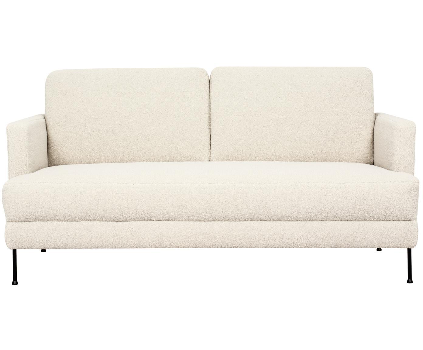 Teddy-Sofa Fluente (2-Sitzer), Bezug: Polyester (Teddyfell) 40., Gestell: Massives Kiefernholz, Füße: Metall, lackiert, Teddy Cremeweiß, 168 x 85 cm