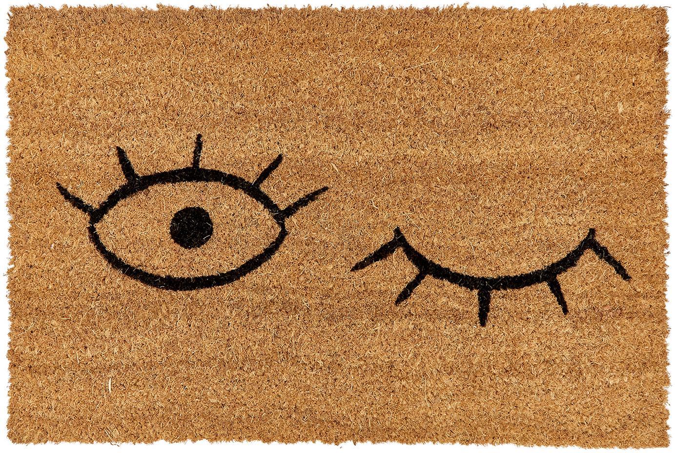 Felpudo Wink, Parte superior: fibras de coco, Reverso: plástico (PVC), Parte superior: beige, negro Reverso: negro, An 40 x L 60 cm