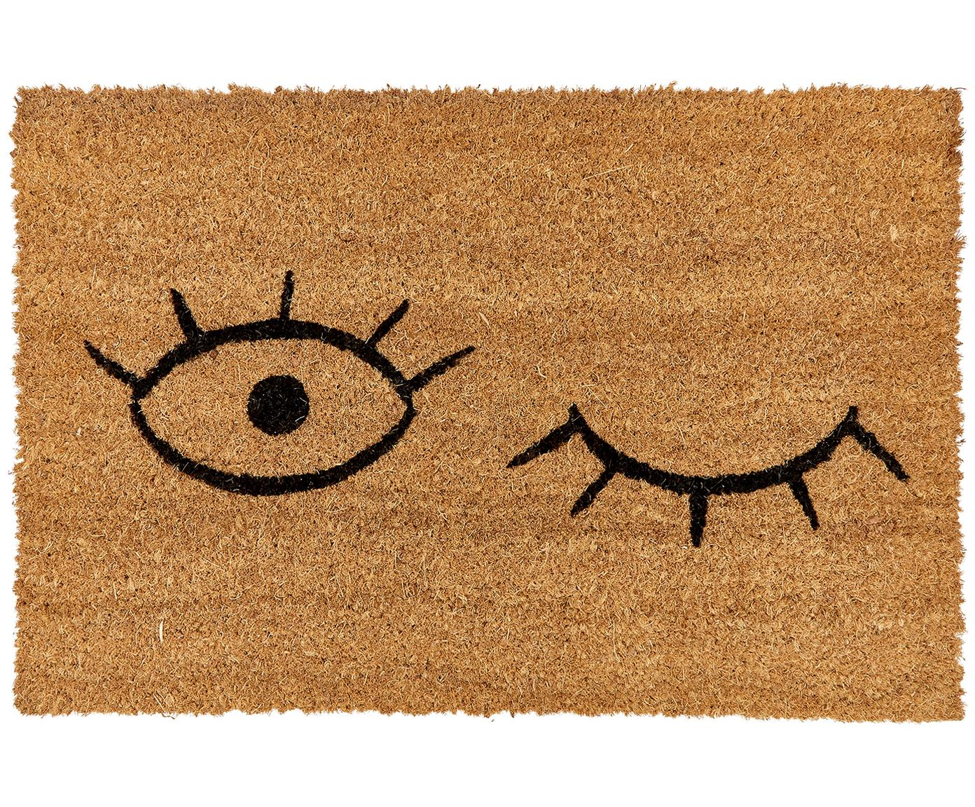 Fußmatte Wink, Flor: Kokosfaser, Flor: Beige, Schwarz Rücken: Schwarz, 40 x 60 cm