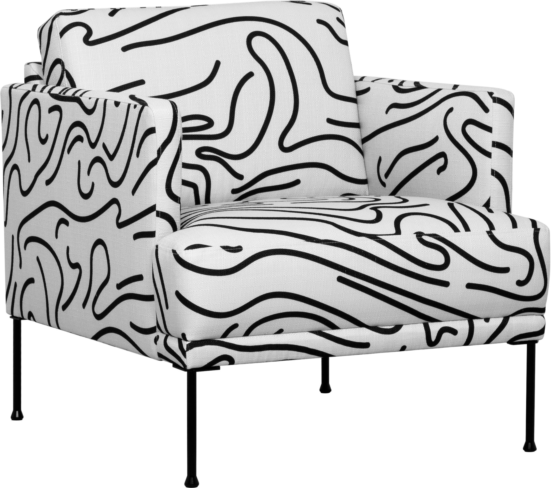 Poltrona in tessuto bianco Fluente, Rivestimento: 100% poliestere 40.000 ci, Struttura: legno di pino massiccio, Piedini: metallo verniciato a polv, Tessuto bianco, Larg. 74 x Prof. 85 cm