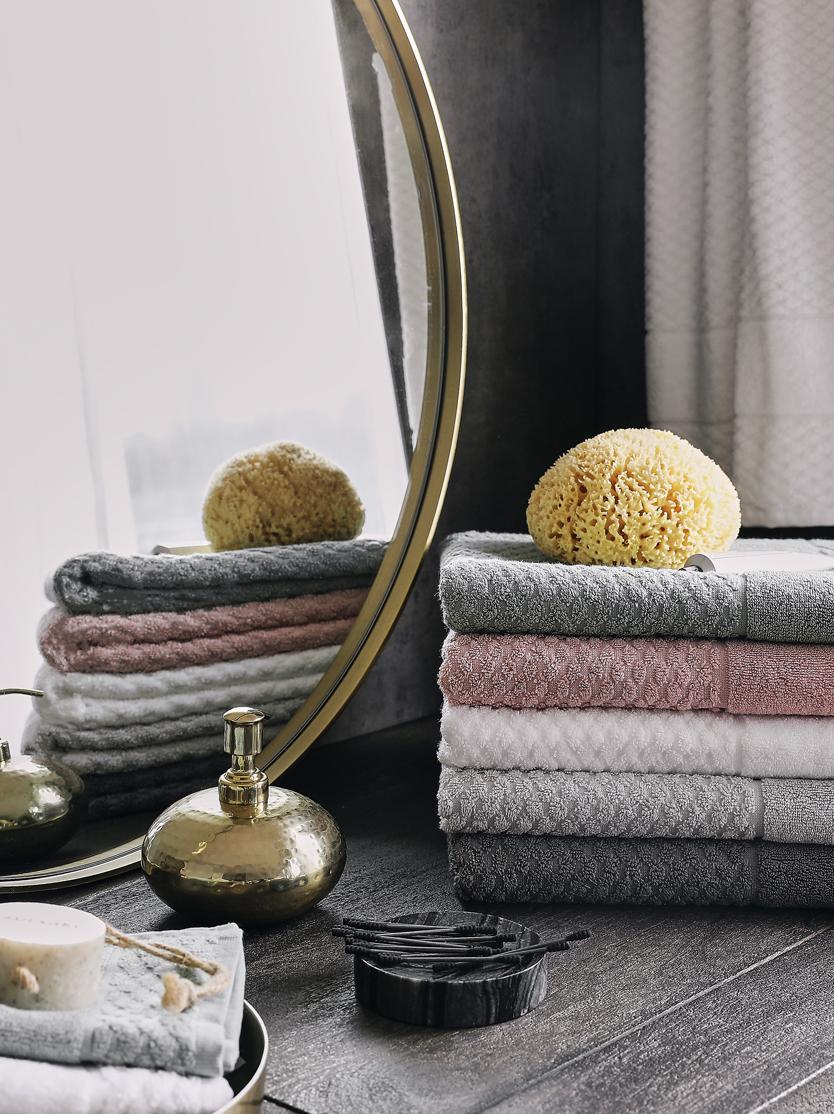 Lot de serviettes de bain nid d'abeille Katharina, 3élém., Gris argent