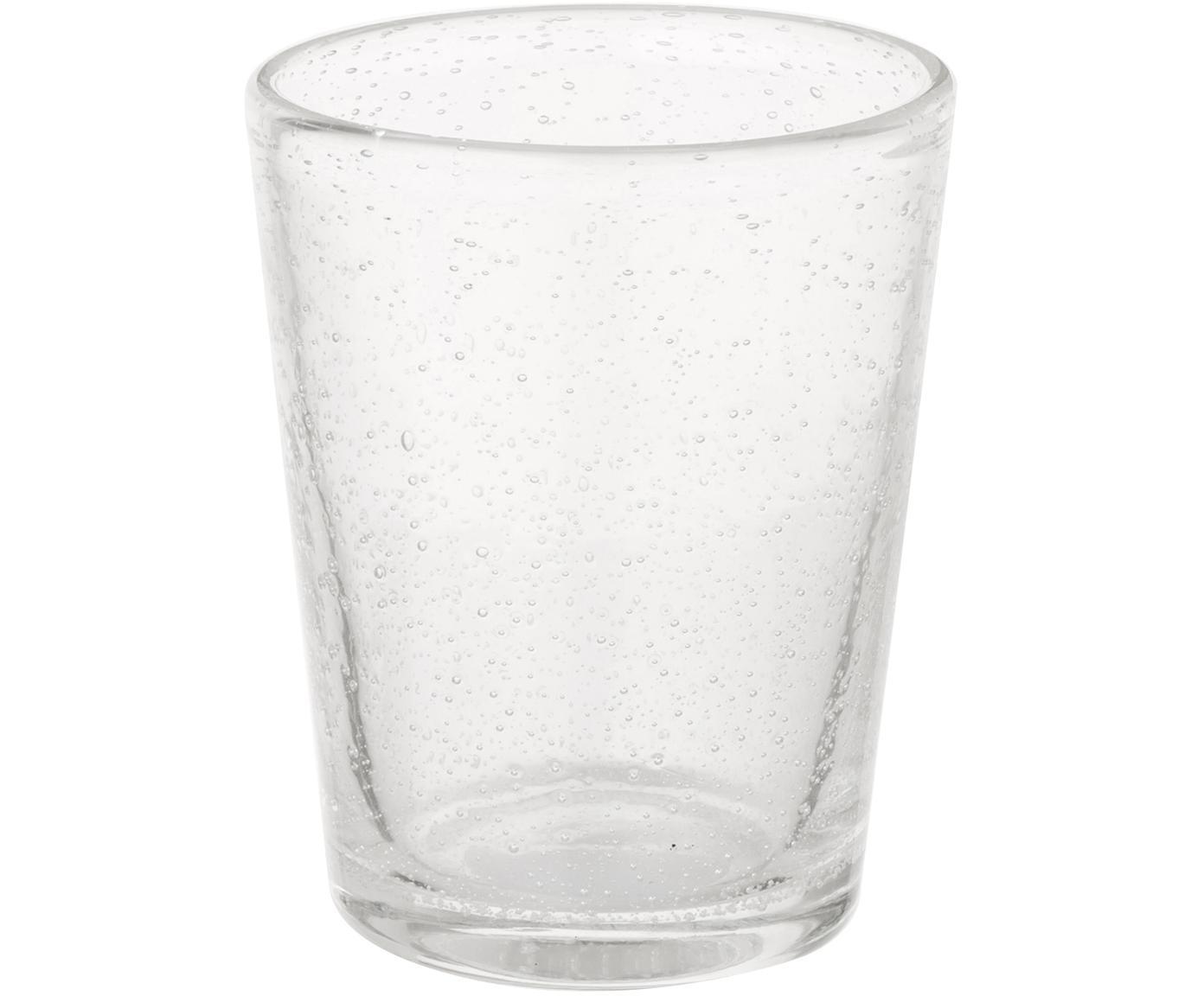 Vasos de vidrio soplado Bubble, 4uds., Vidrio soplado, Transparente con burbujas de aire, Ø 8 x Al 10 cm