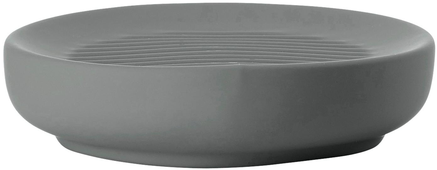 Jabonera Ume, Porcelana, Gris, Ø 12 x Al 3 cm