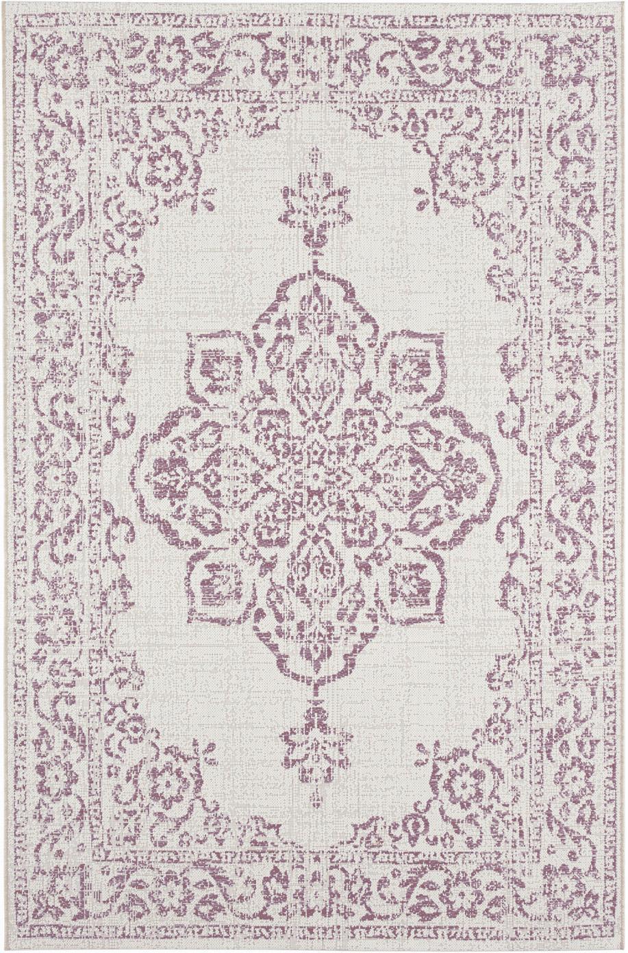In- & outdoor vloerkleed Tilos in vintage look, Polypropyleen, Crèmekleurig, roze, B 80 x L 150 cm (maat XS)