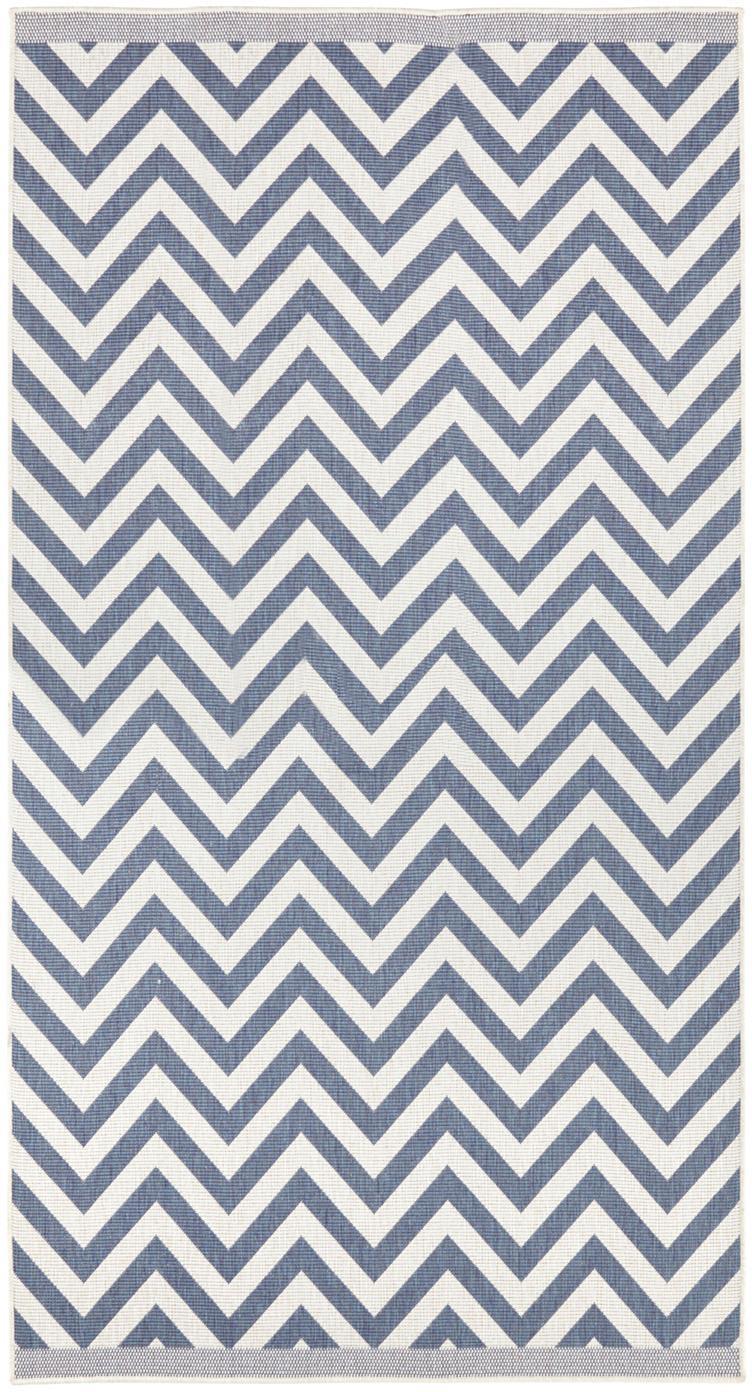 Dubbelzijdig in- & outdoor vloerkleed Palma, met zigzag patroon, Blauw, crèmekleurig, B 80 x L 150 cm (maat XS)