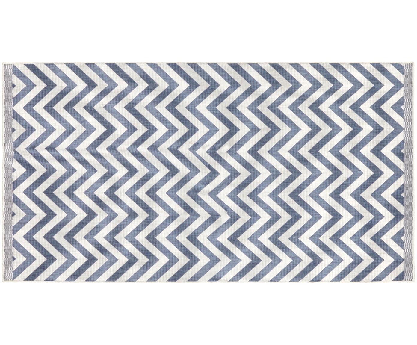 In- & Outdoor-Teppich Palma mit Zickzack-Muster, beidseitig verwendbar, Blau, Creme, B 80 x L 150 cm (Grösse XS)
