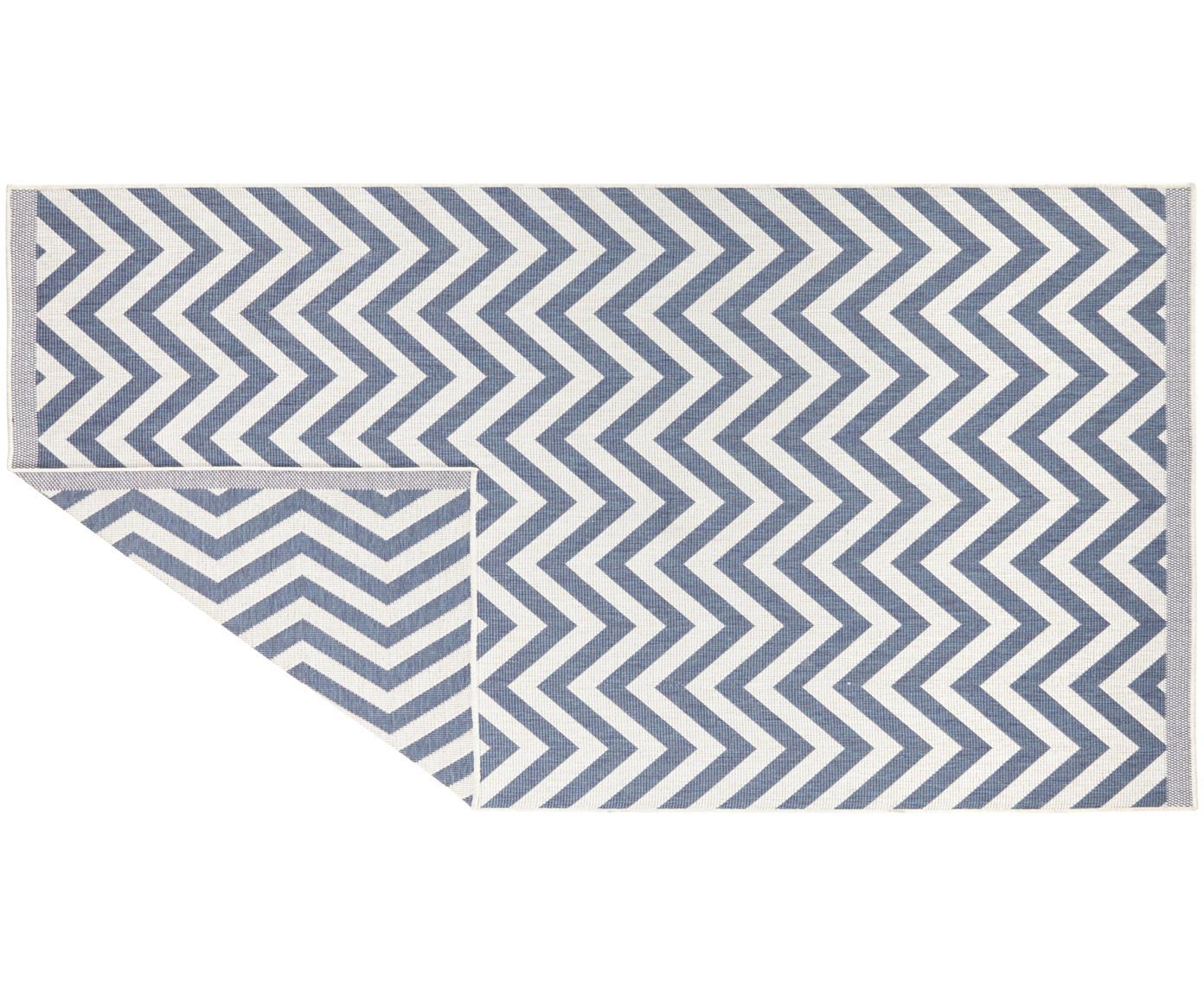 Dwustronny dywan wewnętrzny/zewnętrzny Palma, Niebieski, kremowy, 200 x 290 cm (Rozmiar L)
