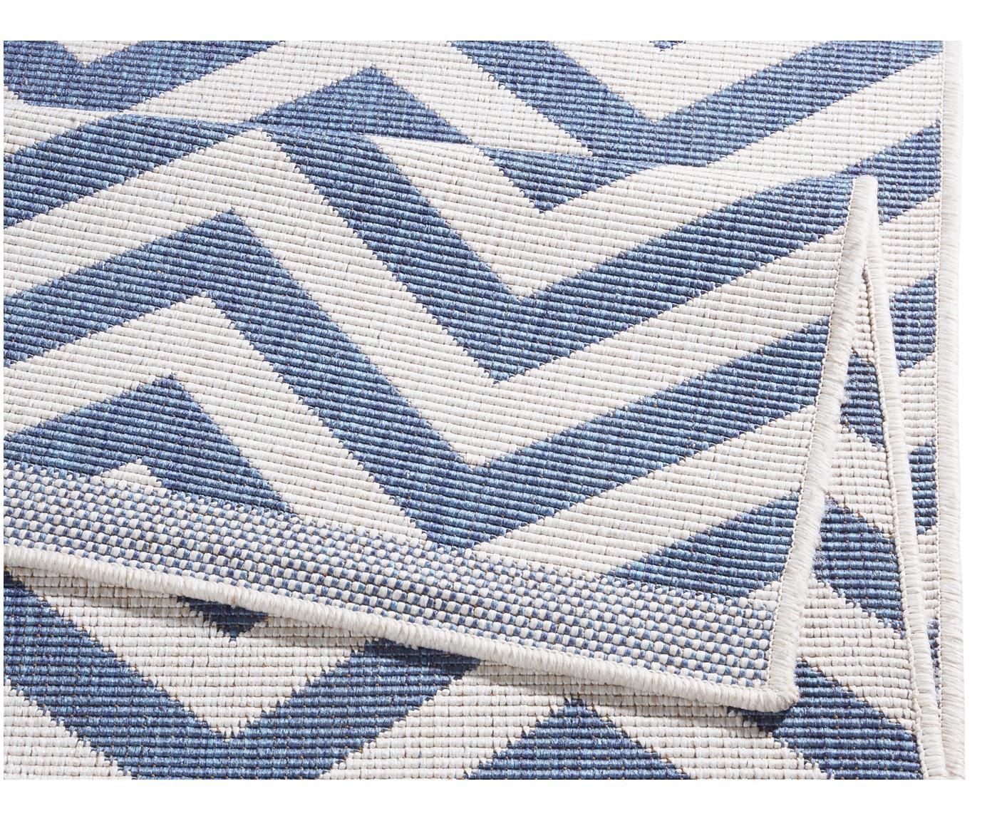 In- & Outdoor-Teppich Palma mit Zickzack-Muster, beidseitig verwendbar, Blau, Creme, B 120 x L 170 cm (Größe S)
