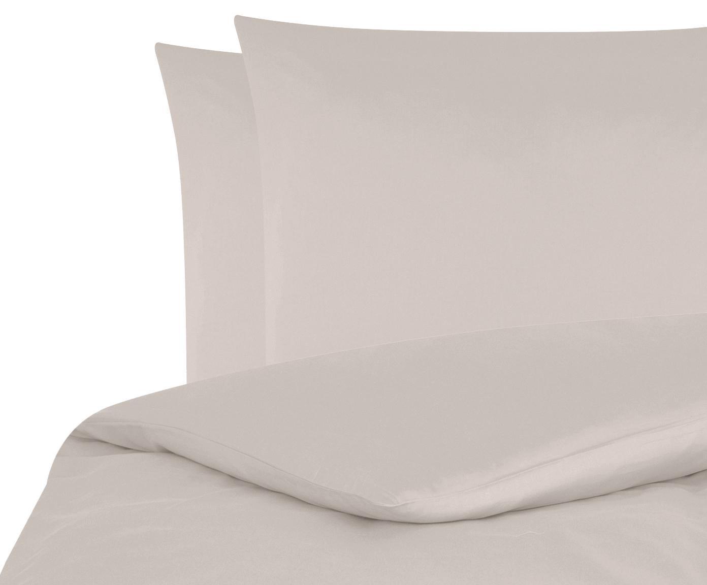 Parure copripiumino in raso di cotone Comfort, Taupe, 255 x 200 cm