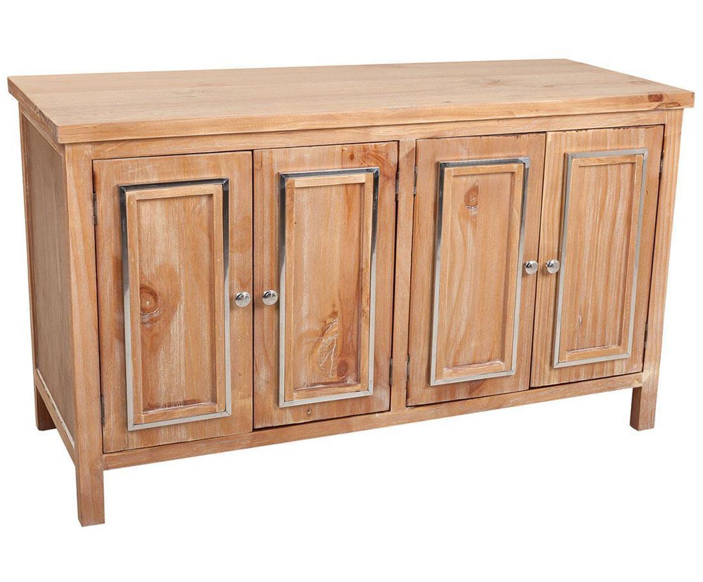 Aparador Claudia, Estructura: madera de pino, Tablero: fibras de densidad media , Beige, plateado, An 120 x Al 71 cm