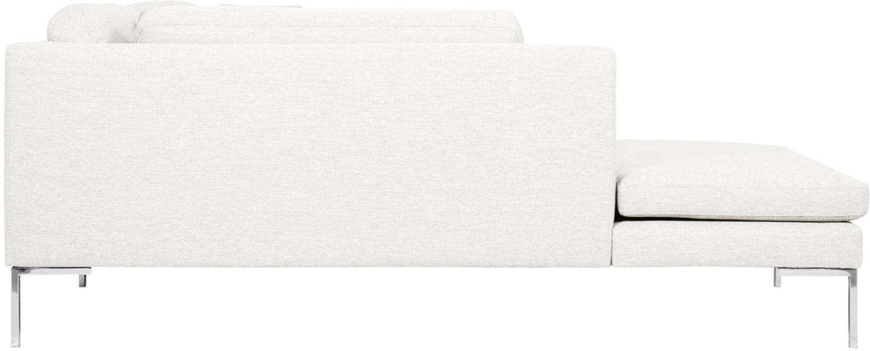 Ecksofa Emma, Bezug: Polyester 100.000 Scheuer, Gestell: Massives Kiefernholz, Webstoff Cremeweiss, Füsse Silber, B 302 x T 220 cm