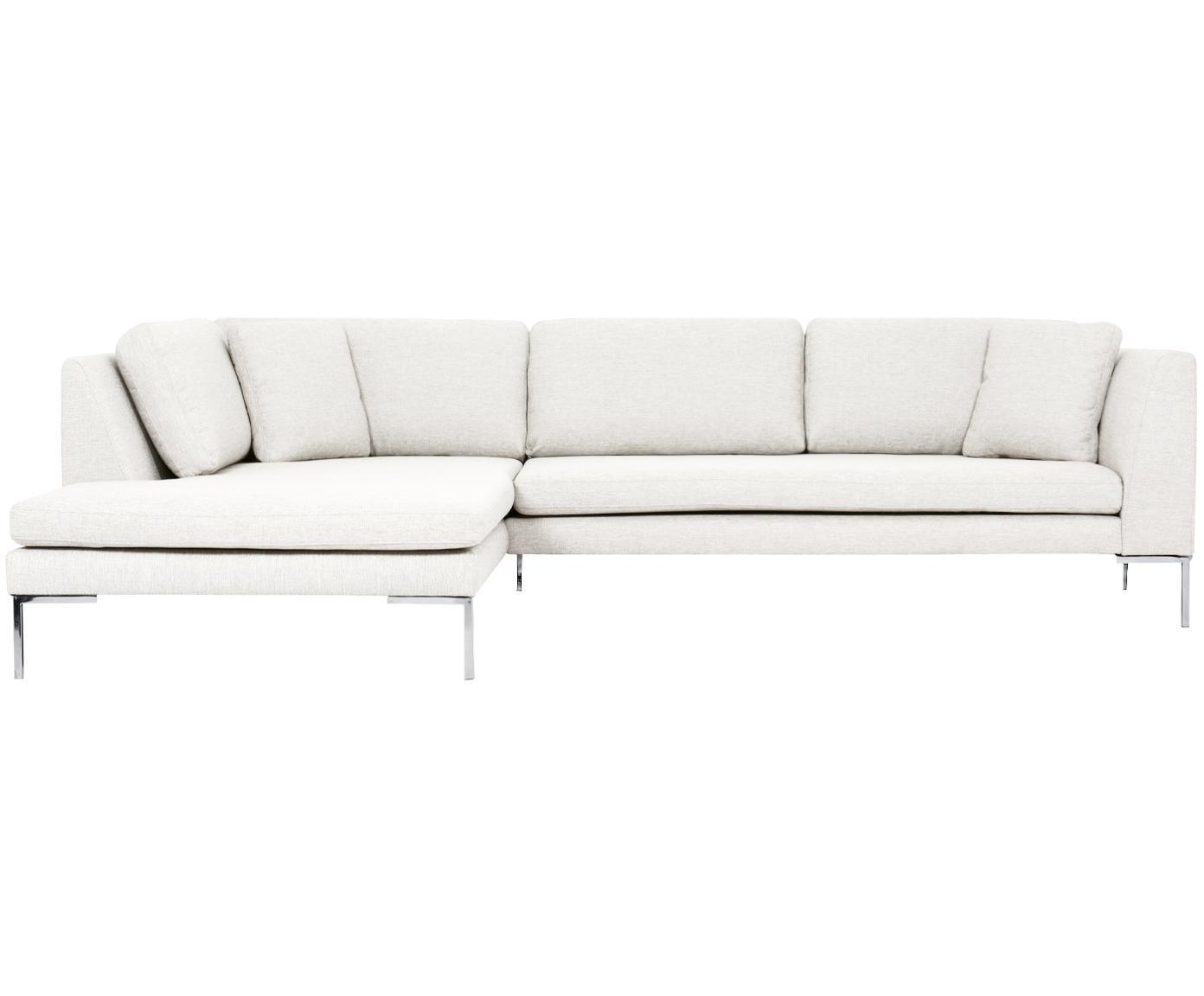 Hoekbank Emma, Bekleding: polyester, Frame: massief grenenhout, Poten: gegalvaniseerd metaal, Crèmekleurig, B 302 x D 220 cm