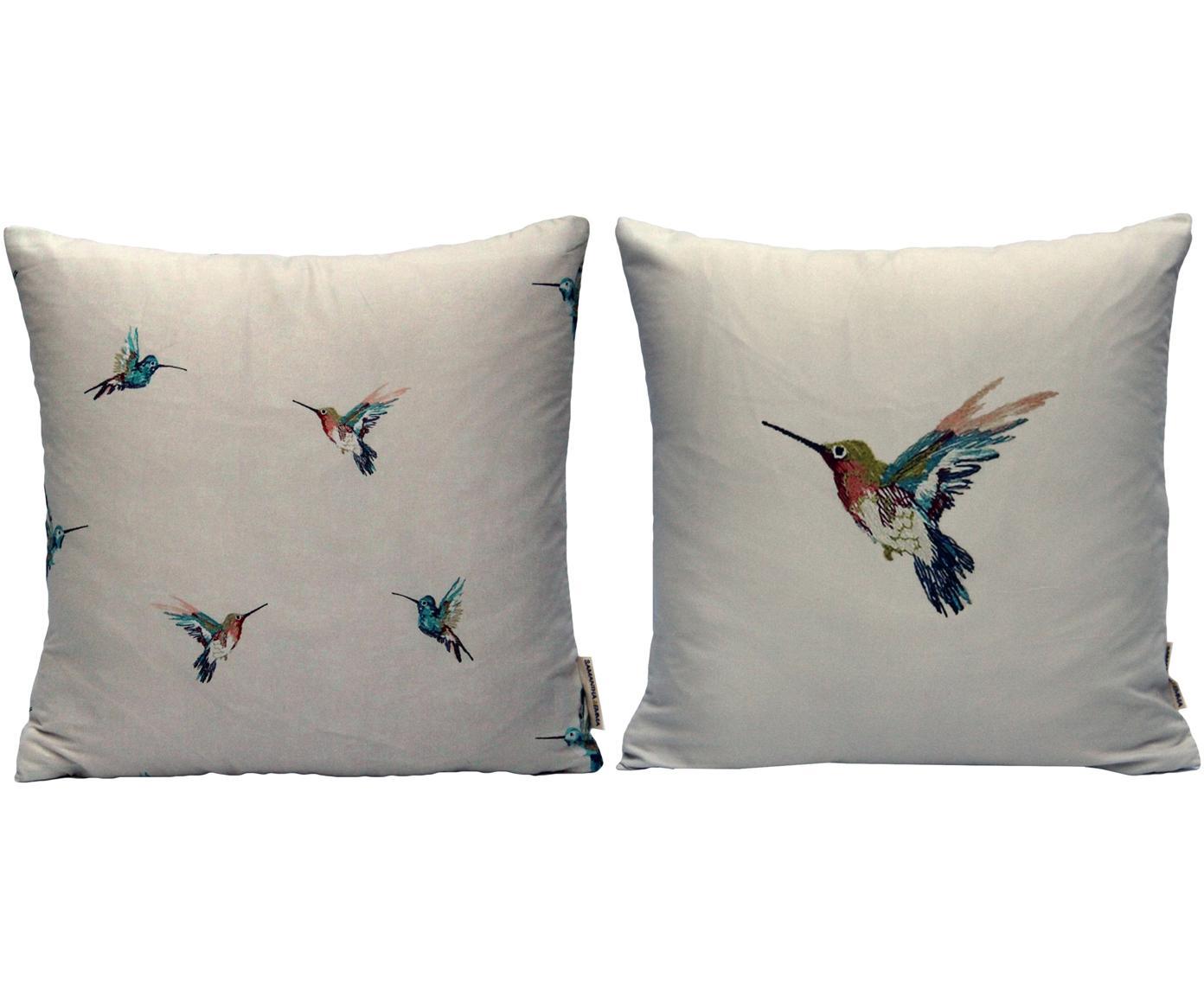 Set 2 federe arredo con motivo colibrì Joanna, Poliestere, Multicolore, Larg. 40 x Lung. 40 cm