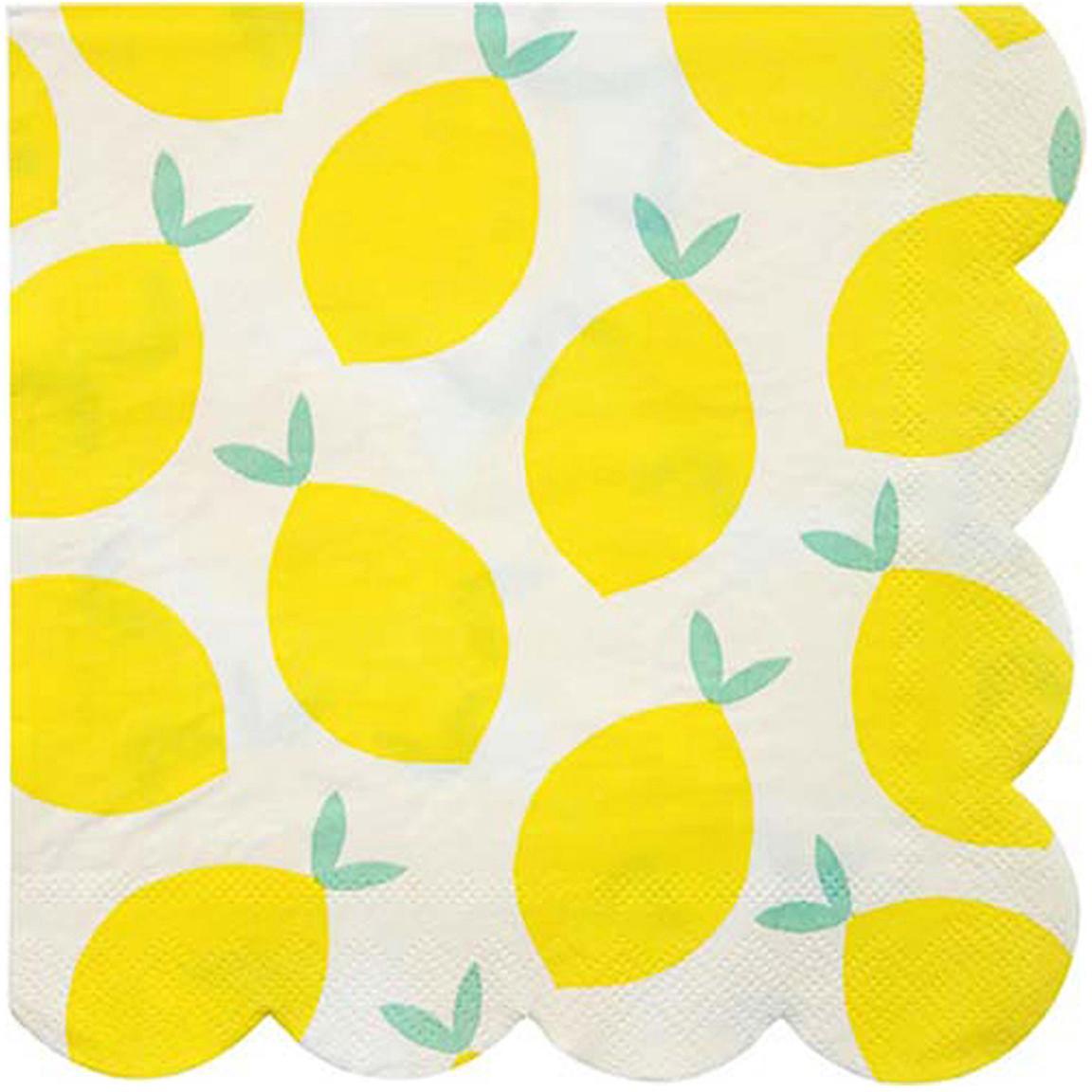 Servilletas de papel Lemon, 20uds., Papel, Blanco, amarillo, verde, An 33 x L 33 cm