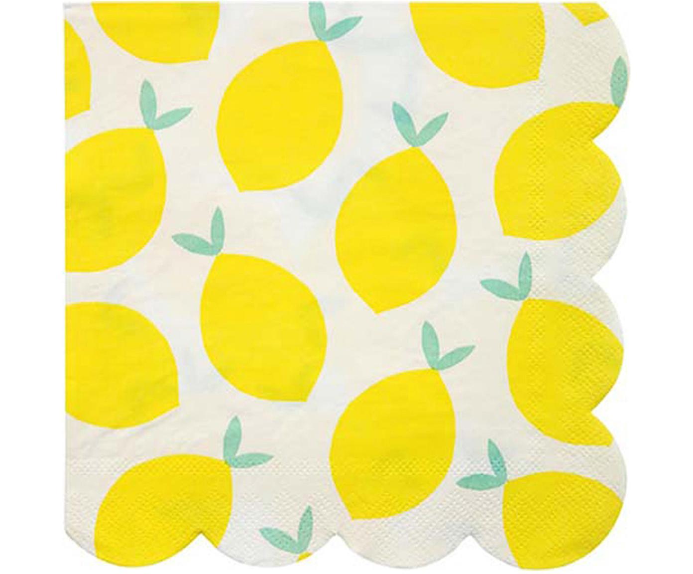Papieren servetten Lemon, 20 stuks, Papier, Wit, geel, groen, 33 x 33 cm