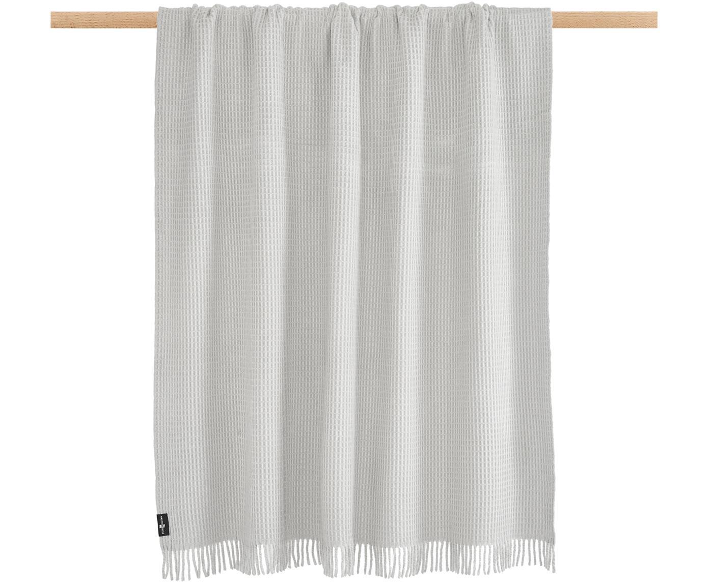 Manta de tela polar con estructura gofre Sara, 50%algodón, 50%acrílico, Gris, An 140 x L 180 cm