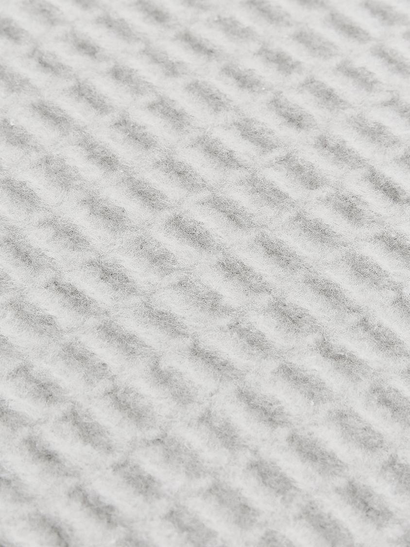 Waffelpiqué-Plaid Sara, 50% Baumwolle, 50% Acryl, Steingrau, 140 x 180 cm