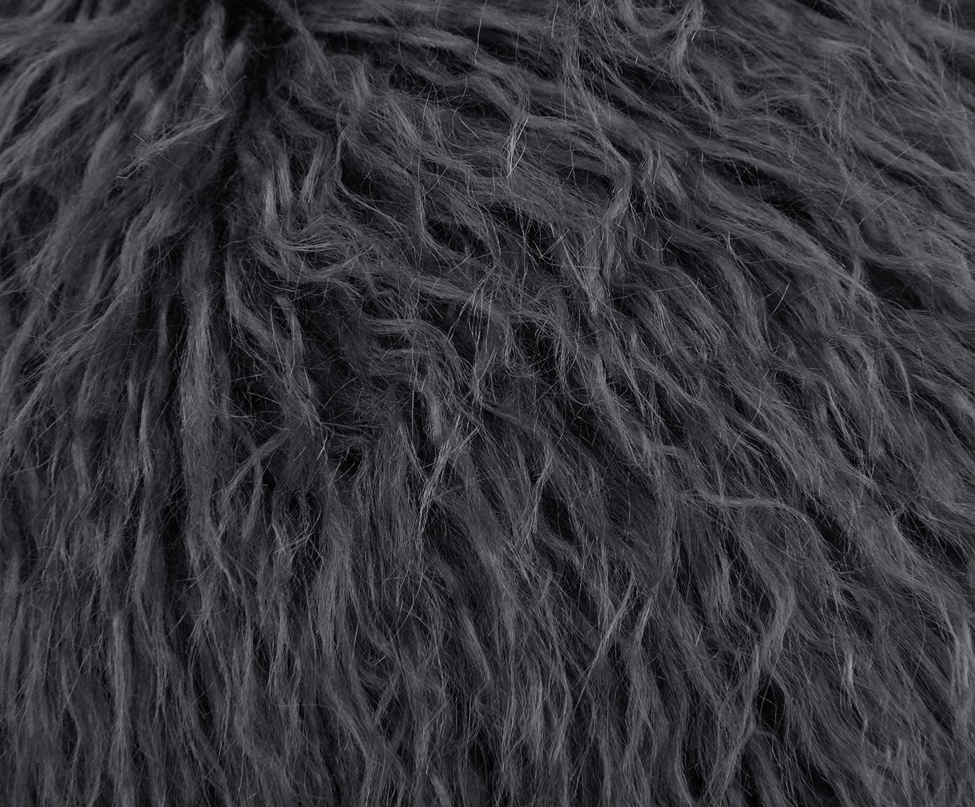 Runde Kunstfell-Sitzauflage Morten, gelockt, Vorderseite: 67% Akryl, 33% Polyester, Rückseite: 100% Polyester, Dunkelgrau, Ø 37 cm