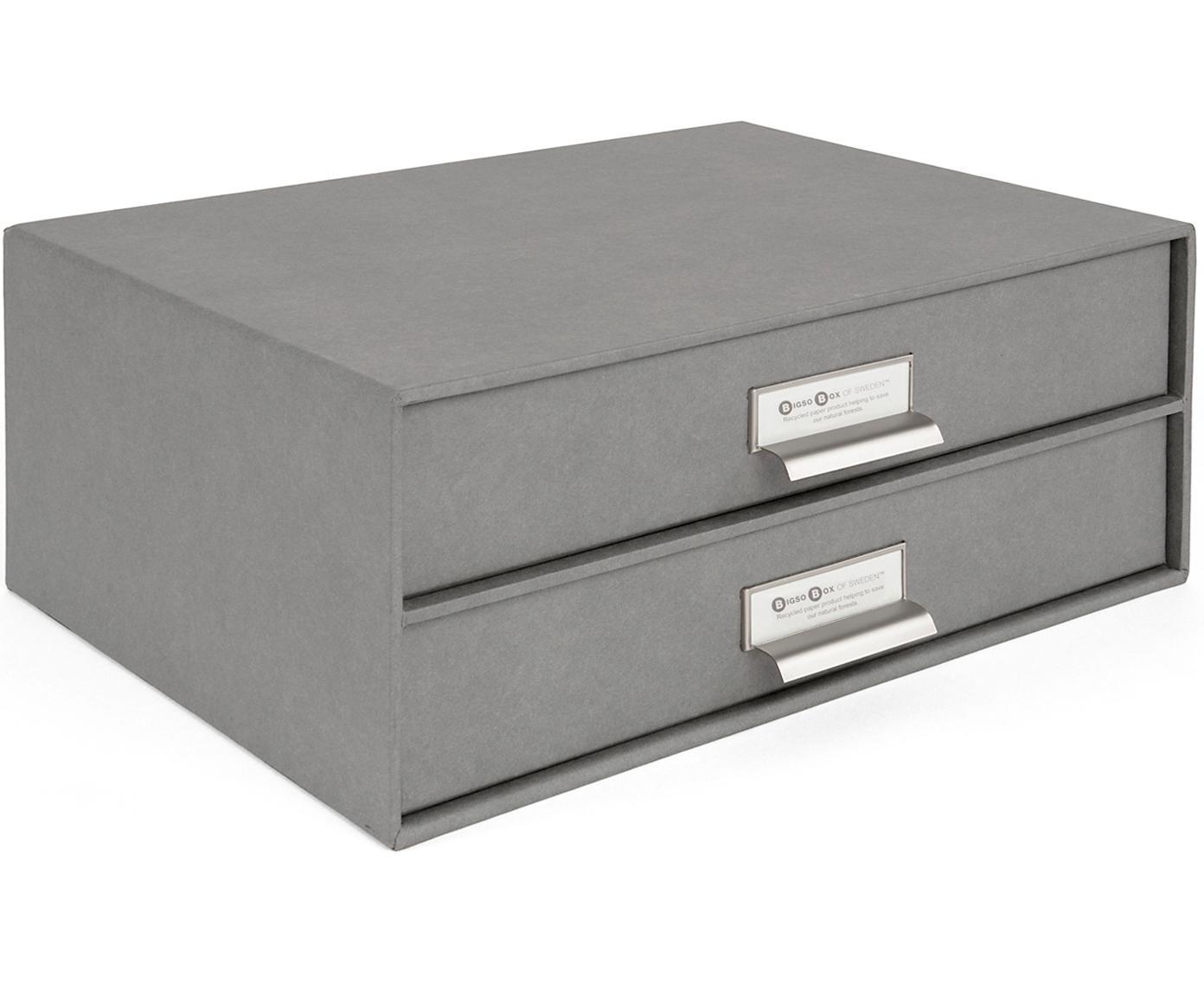 Organizador de escritorio Birger, Caja: cartón laminado, Exterior: gris claro Interior: blanco, An 33 x Al 15 cm