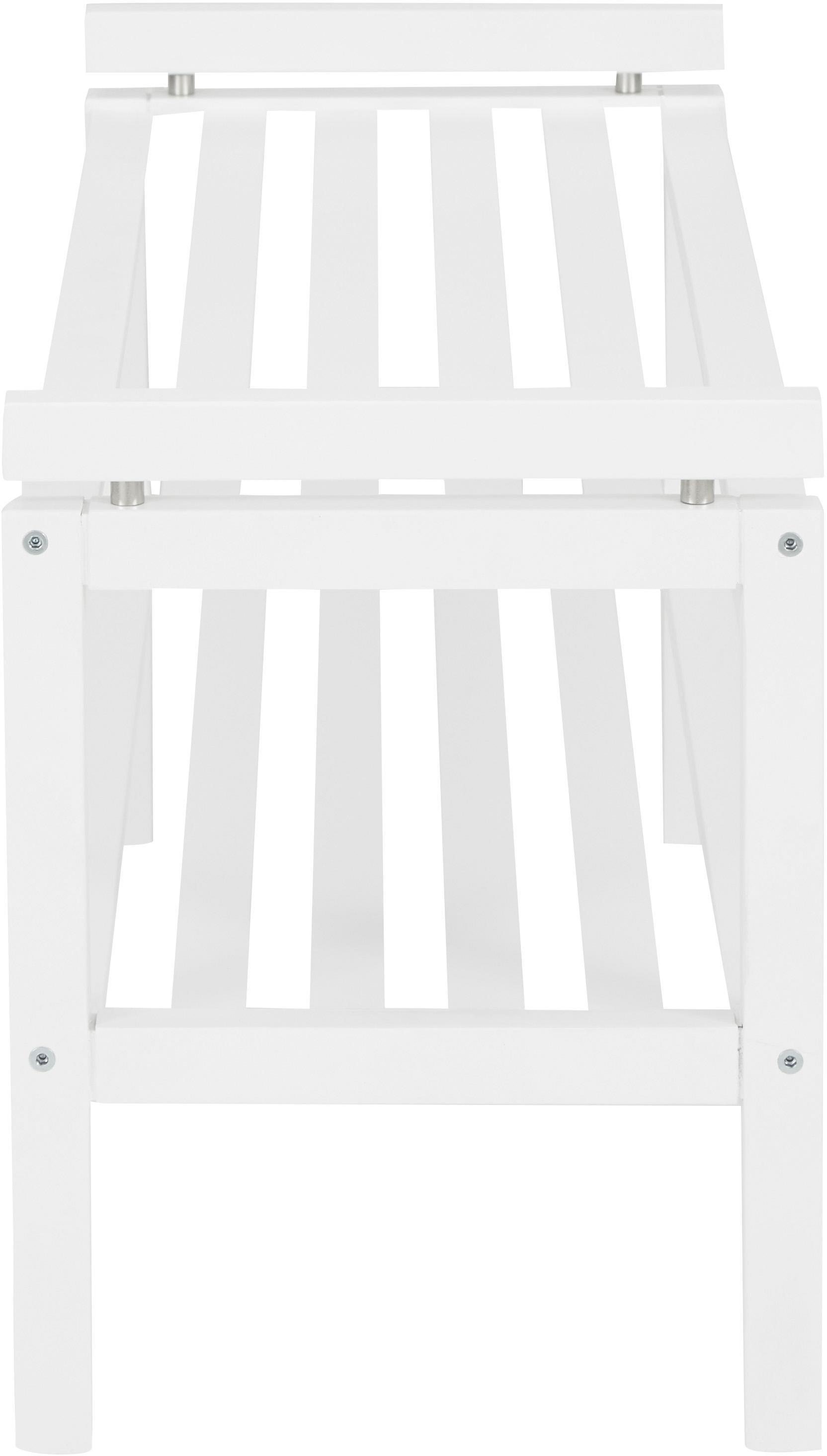 Holz-Schuhregal Confetti mit 2 Ablageflächen, Eichenholz, lackiert, Weiß, 80 x 40 cm