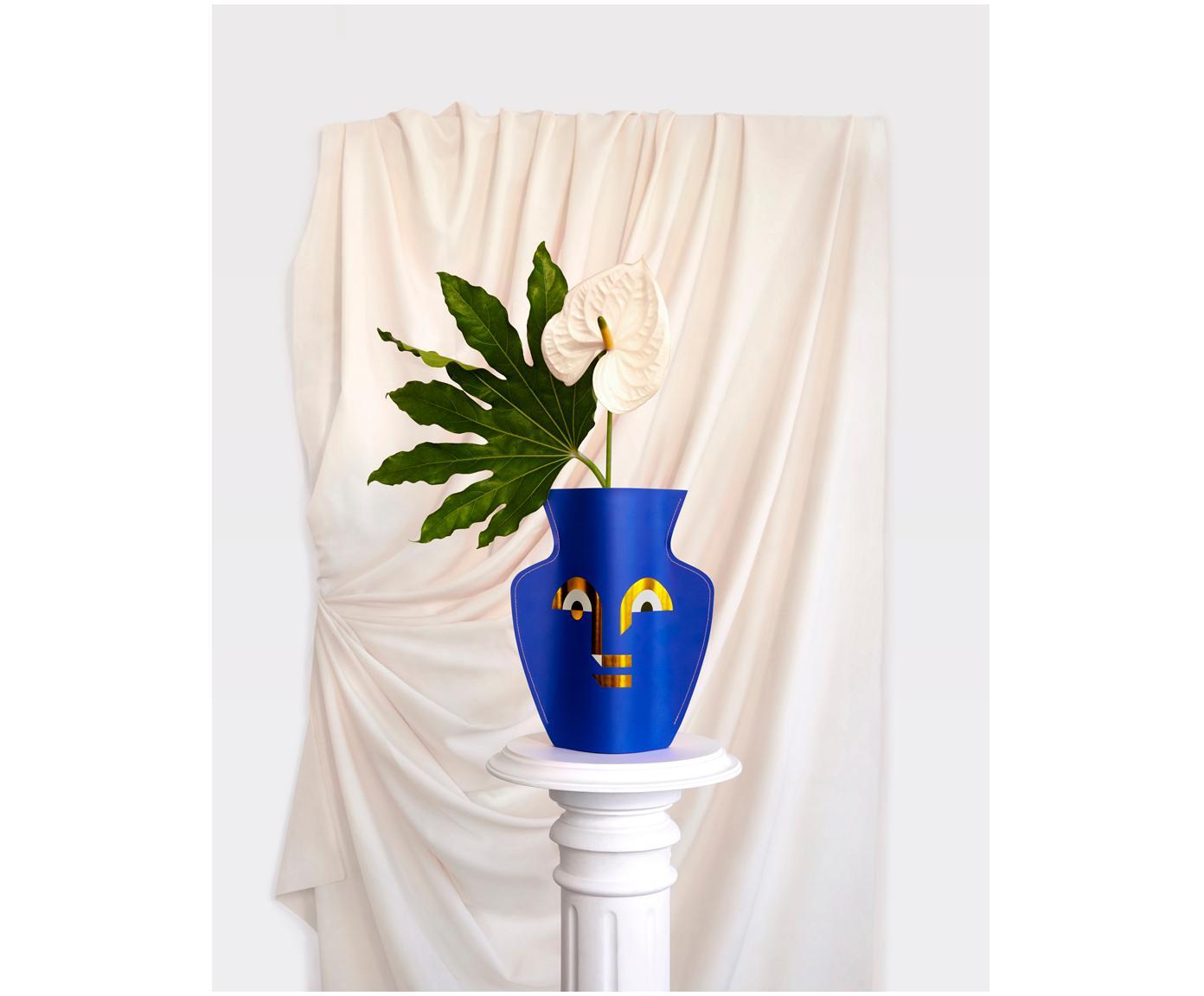 Handgefertigte Deko-Papiervase Apollo, Blau, Rosa, Goldfarben, 27 x 29 cm