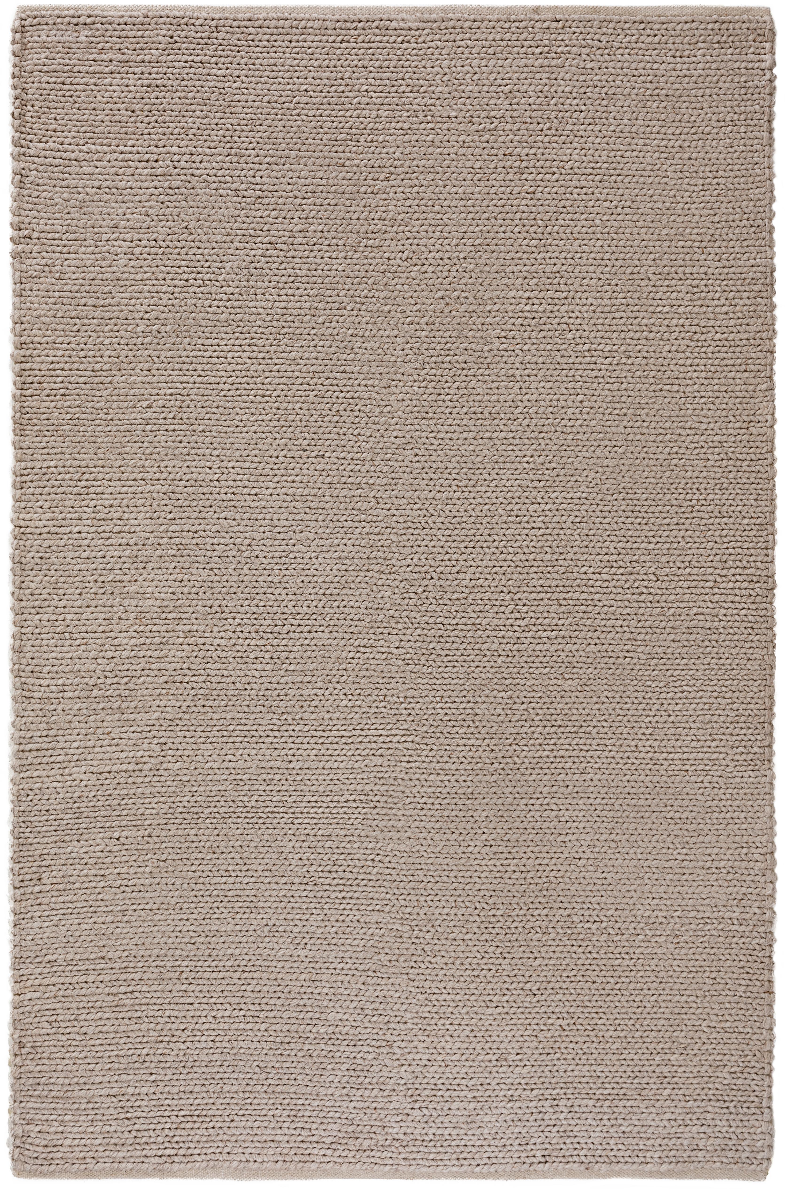 Handgewebter Wollteppich Uno in Taupe mit geflochtener Struktur, Flor: 60% Wolle, 40% Polyester, Taupe, B 160 x L 230 cm (Größe M)