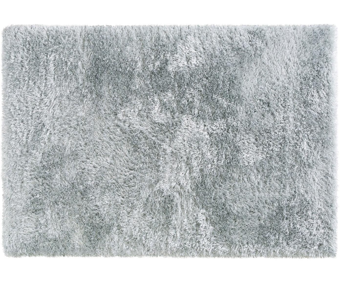 Glanzend hoogpolig vloerkleed Lea, 50% polyester, 50% polypropyleen, Lichtblauw, B 160 x L 230 cm (maat M)