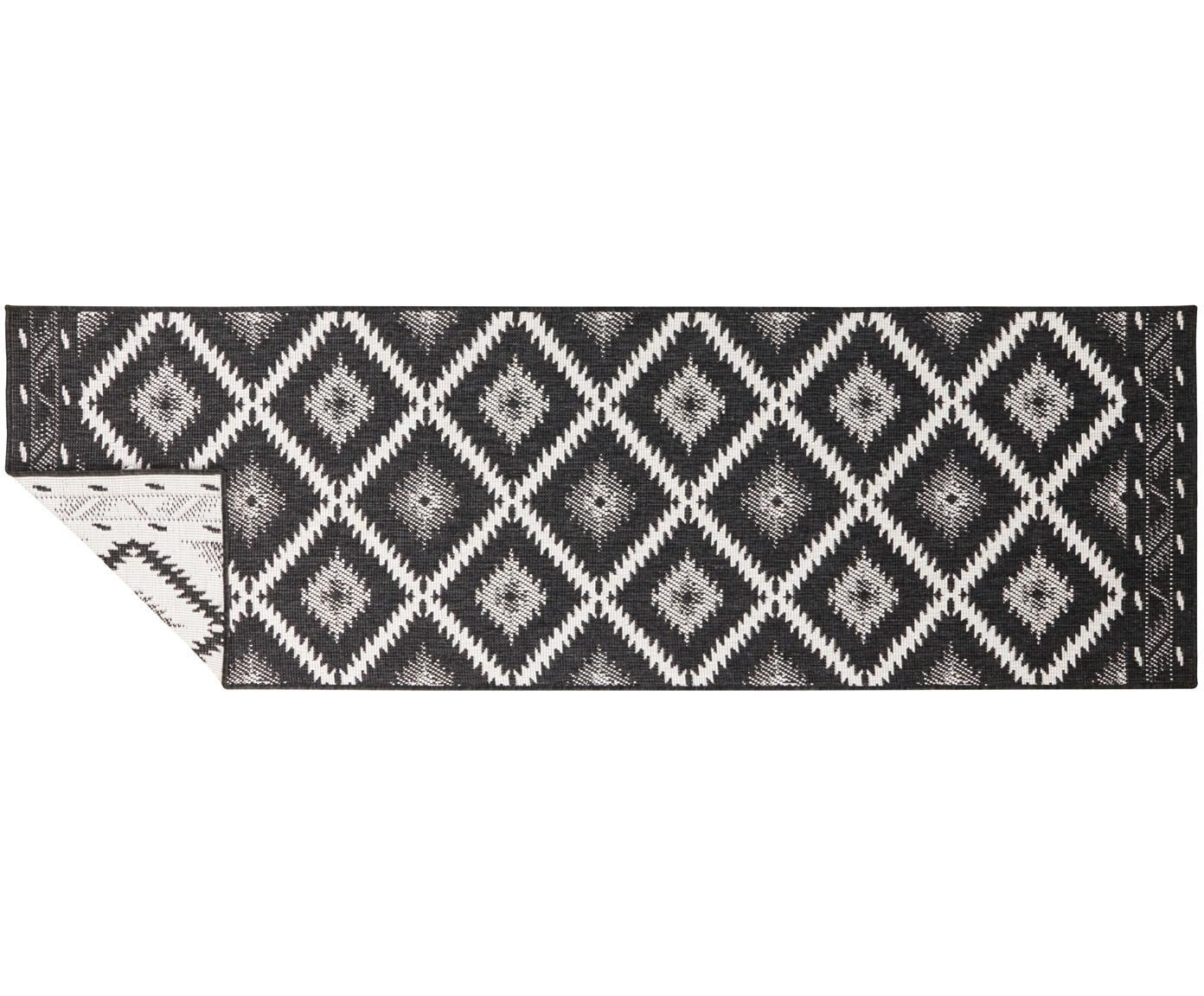 Dubbelzijdige in- & outdoor loper Malibu, Zwart, crèmekleurig, 80 x 250 cm