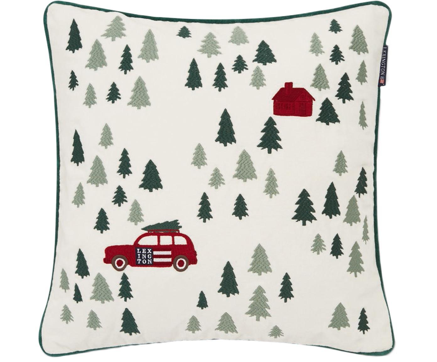 Geborduurde fluwelen kussenhoes Holiday, Katoenfluweel, Wit, rood, groen, 50 x 50 cm