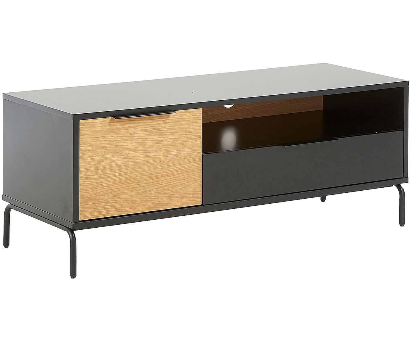 TV-Lowboard Stellar mit einer Türe und Schublade, Schwarz, Eichenholz, 120 x 50 cm