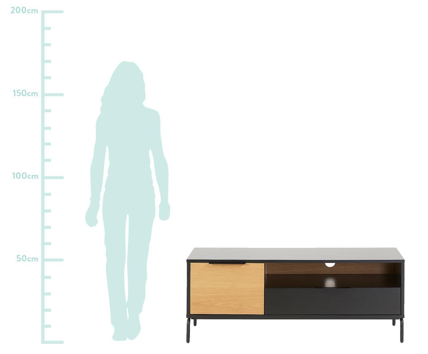 Consolle TV con anta e cassetto Stellar, Nero, legno di quercia, Larg. 120 x Alt. 50 cm