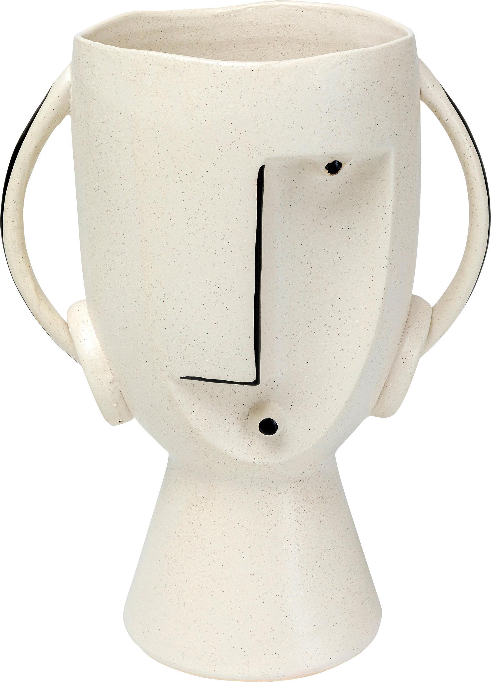 Vaso in terracotta Face, Gres, Bianco, nero, Larg. 23 x Alt. 30 cm