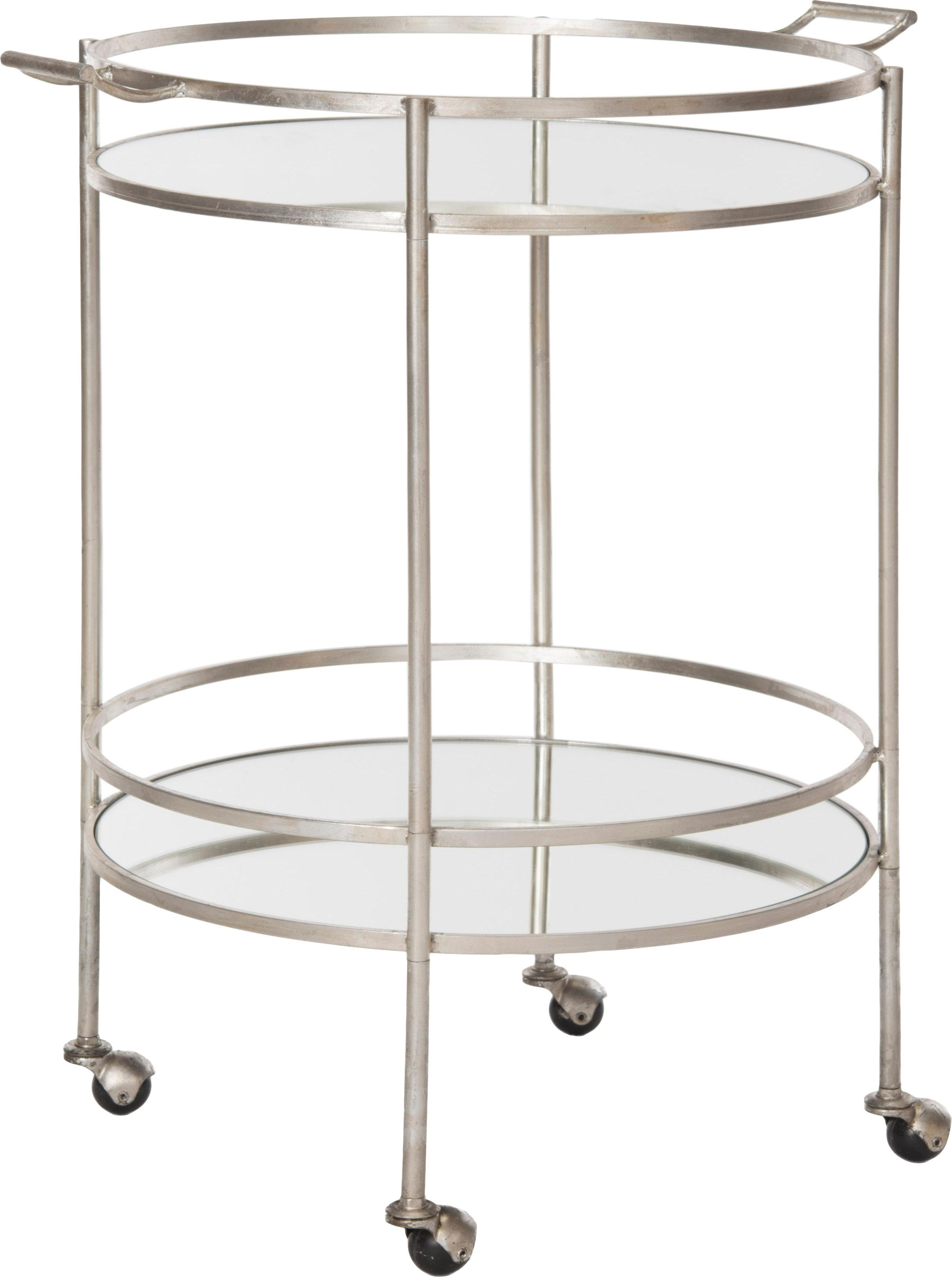 Metalen bar cart Harper, Frame: ijzer met antieke afwerki, Frame: metaalkleurig. Plateau: gespiegeld glas, B 64 x D 50 cm