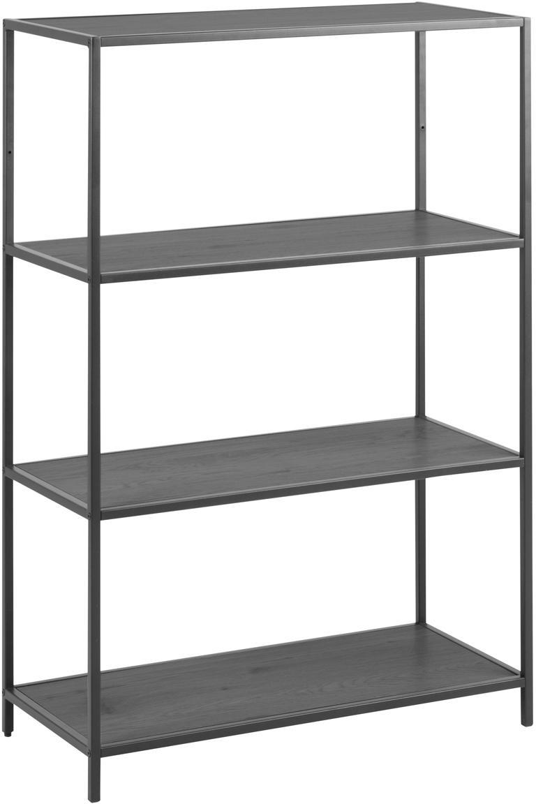 Estantería de metal Seaford, Estantes: tablero de fibras de dens, Estructura: metal con pintura en polv, Negro, An 77 x Al 114 cm