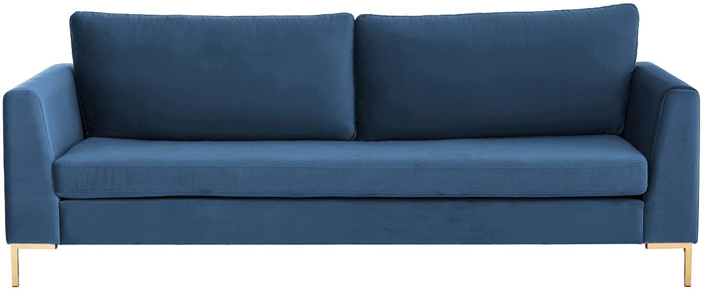 Samt-Sofa Luna (3-Sitzer), Bezug: Samt (Polyester) Der hoch, Gestell: Massives Buchenholz, Füße: Metall, galvanisiert, Samt Blau, Gold, B 230 x T 95 cm
