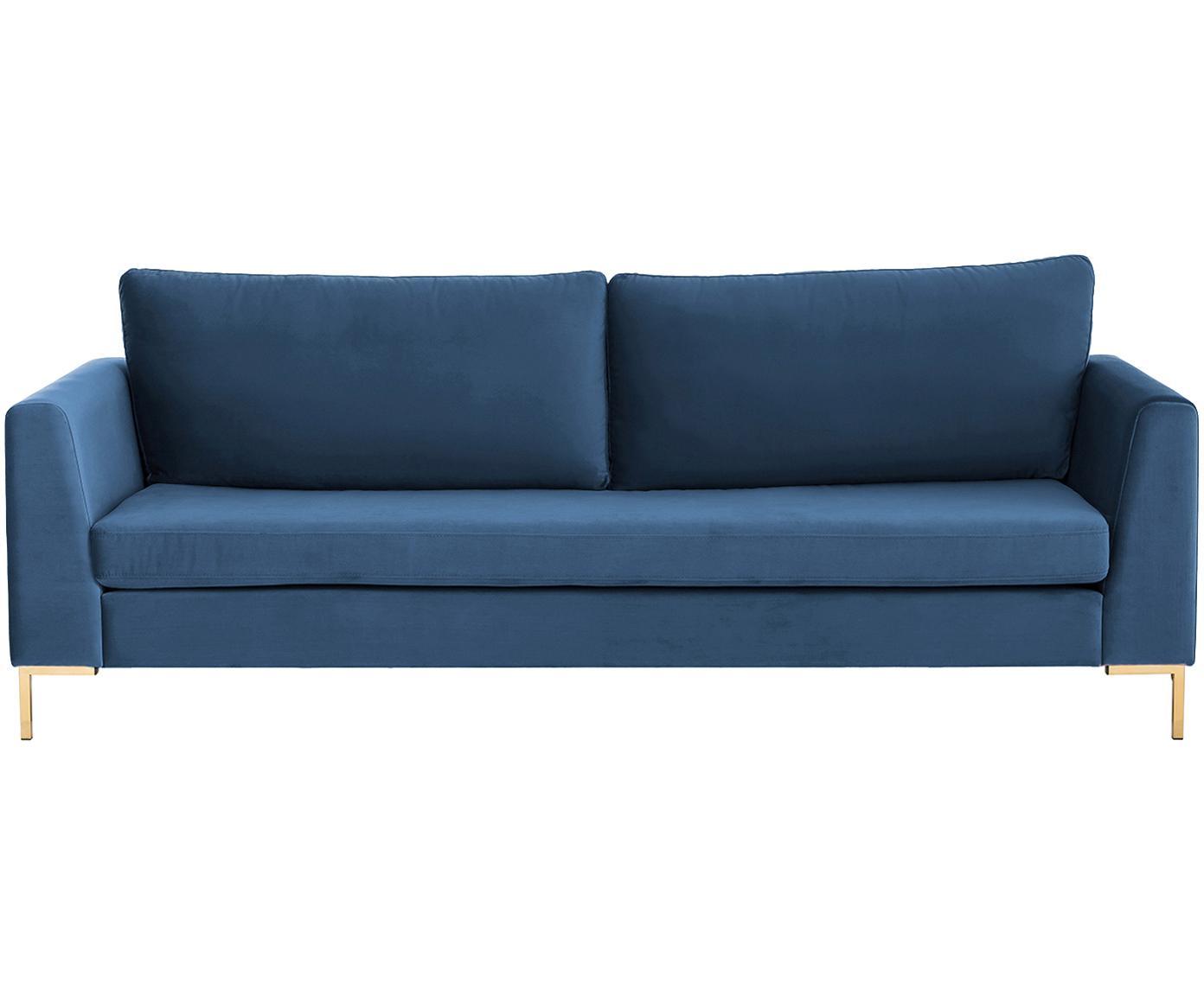 Sofa z aksamitu Luna (3-osobowa), Tapicerka: aksamit (poliester) 8000, Stelaż: lite drewno bukowe, Nogi: metal galwanizowany, Aksamitny niebieski, złoty, S 230 x G 95 cm