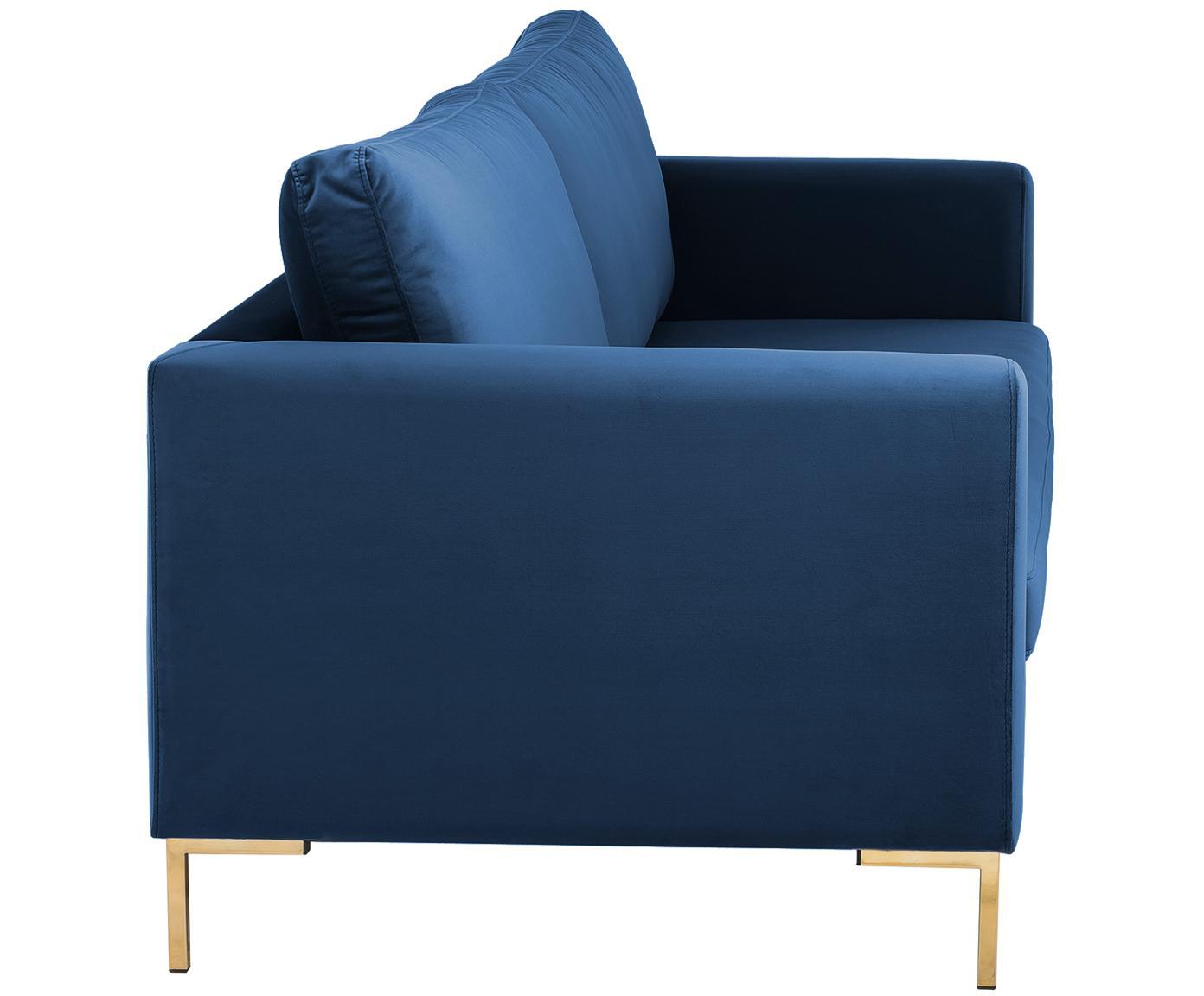 Samt-Sofa Luna (3-Sitzer), Bezug: Samt (Polyester) 80.000 S, Gestell: Massives Buchenholz, Füße: Metall, galvanisiert, Samt Blau, Gold, B 230 x T 95 cm