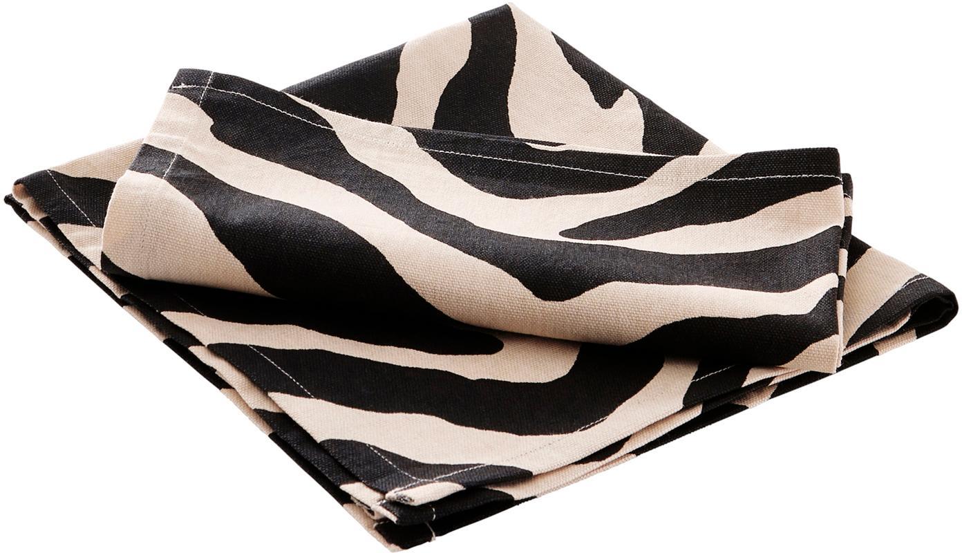 Baumwoll-Servietten Jill mit Zebra-Print, 2 Stück, 100% Baumwolle, Schwarz, Creme, 45 x 45 cm