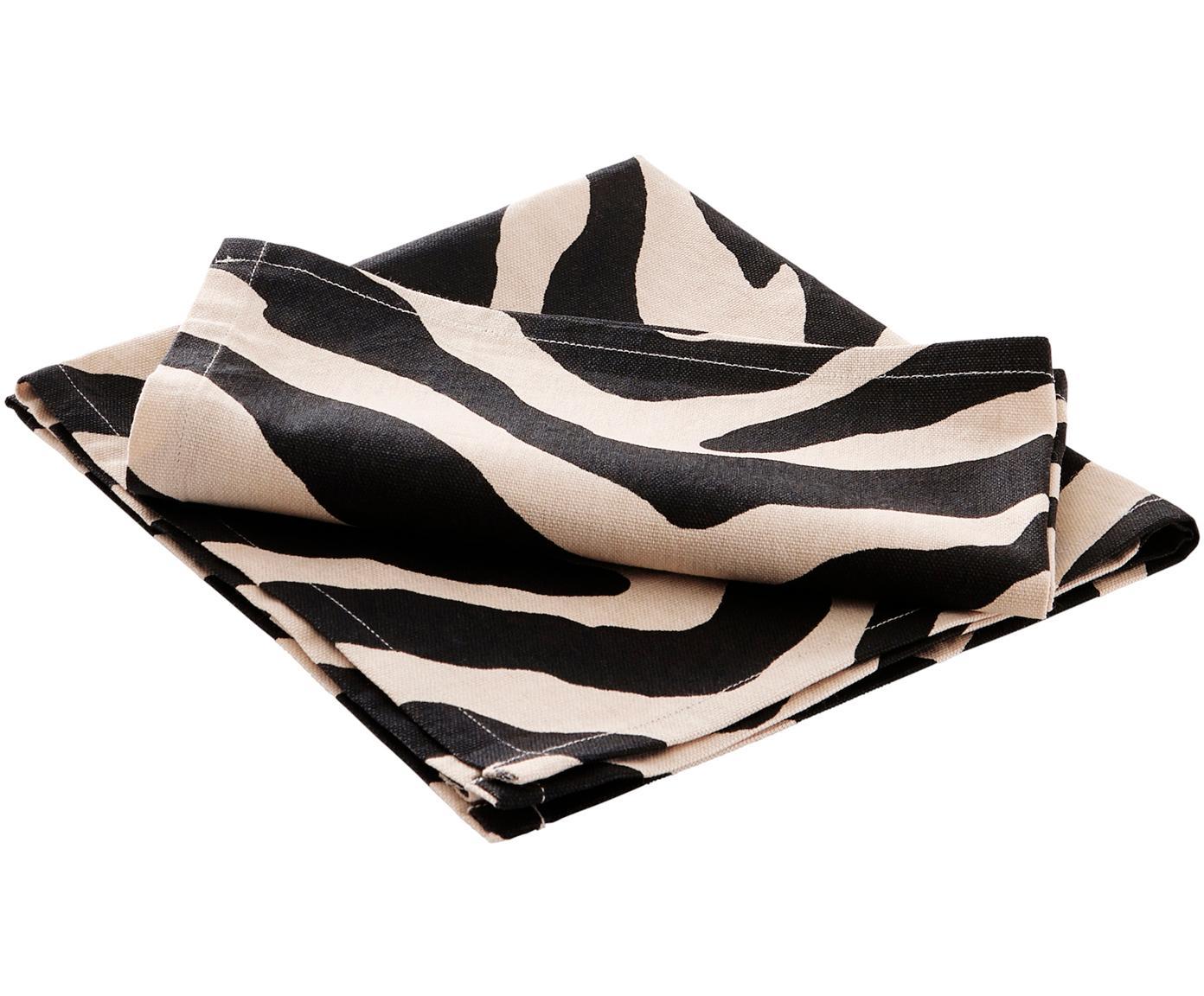 Katoenen servetten Zebra, 2 stuks, Katoen, Zwart, crèmekleurig, 45 x 45 cm