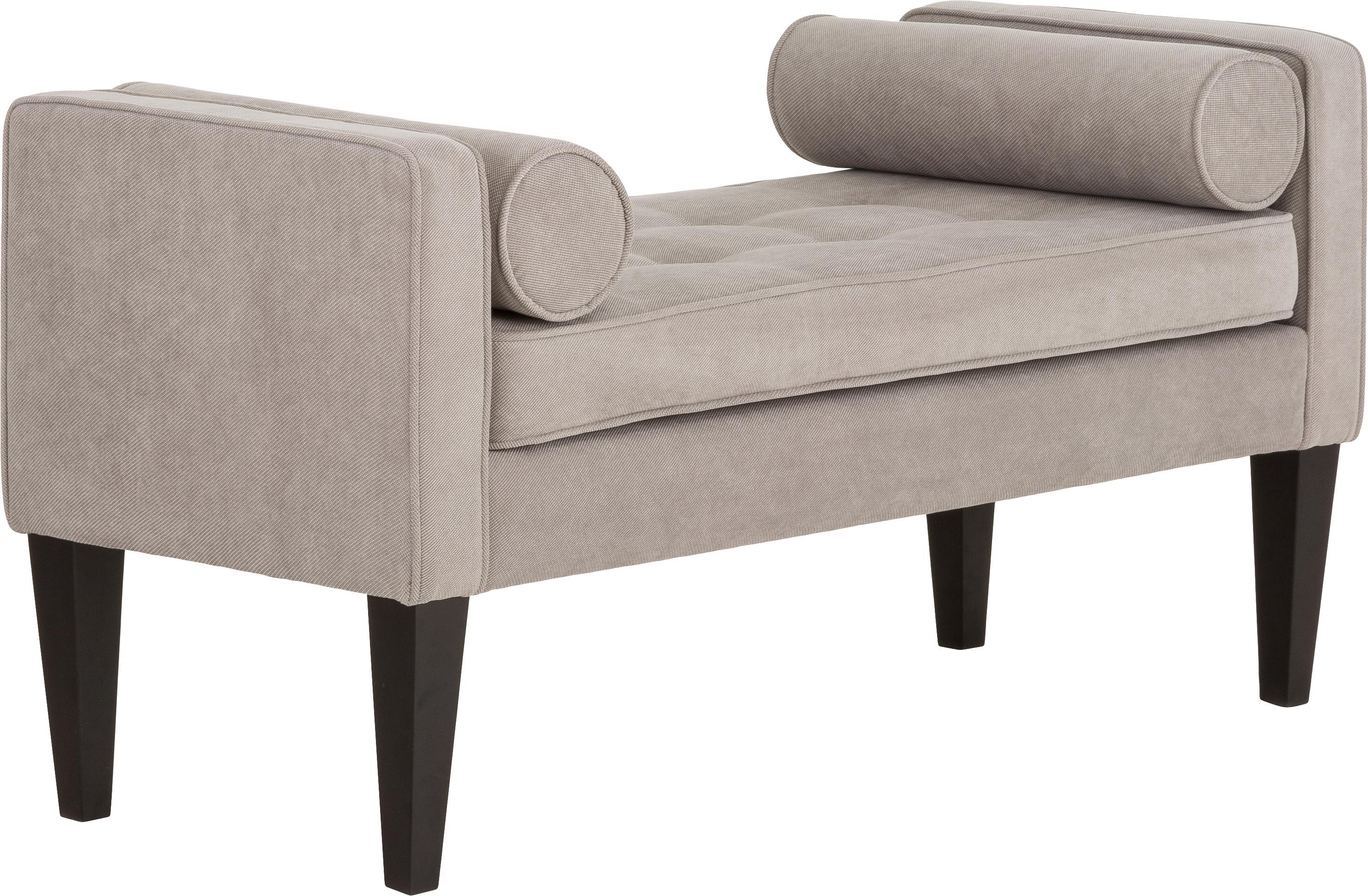 Bettbank Mia mit Kissen, Bezug: 92% Polyester, 8% Nylon, Beine: Birkenholz, lackiert, Bezug: Grau<br>Beine: Schwarz, 115 x 61 cm