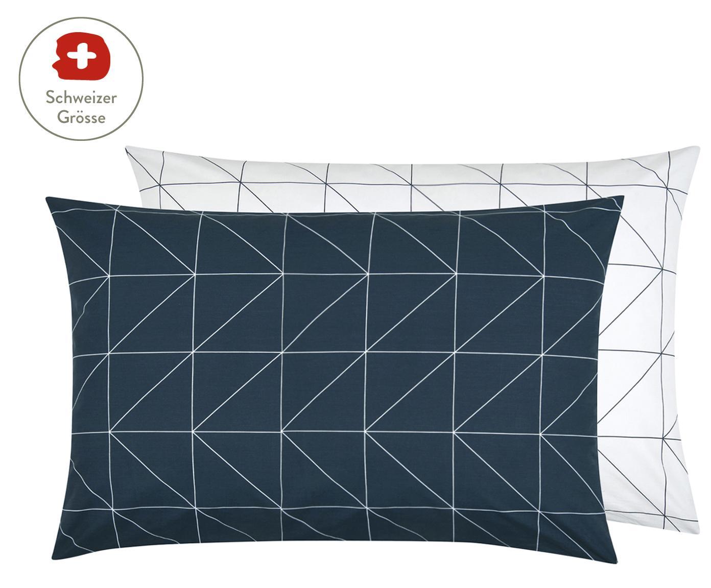 Baumwoll-Wendekissenbezug Marla mit grafischem Muster, Webart: Renforcé Fadendichte 144 , Navyblau, Weiss, 65 x 100 cm
