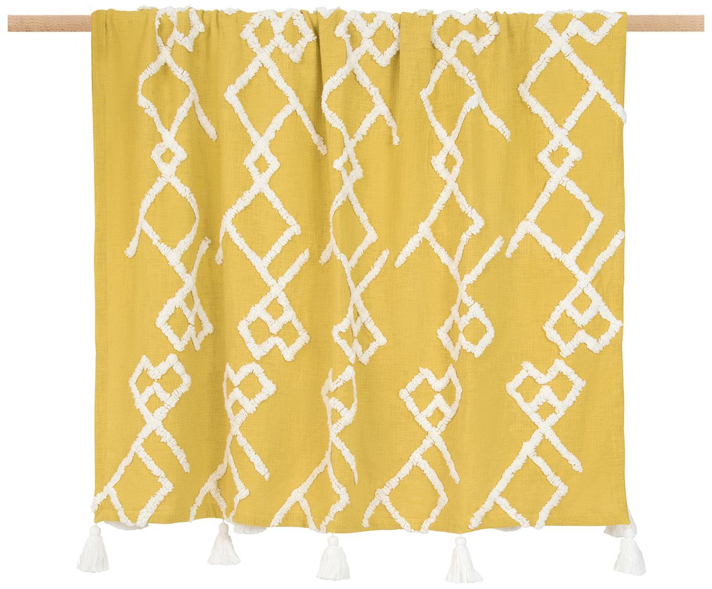 Plaid Tikki mit getufteter Verzierung, 100% Baumwolle, Gelb, 130 x 170 cm