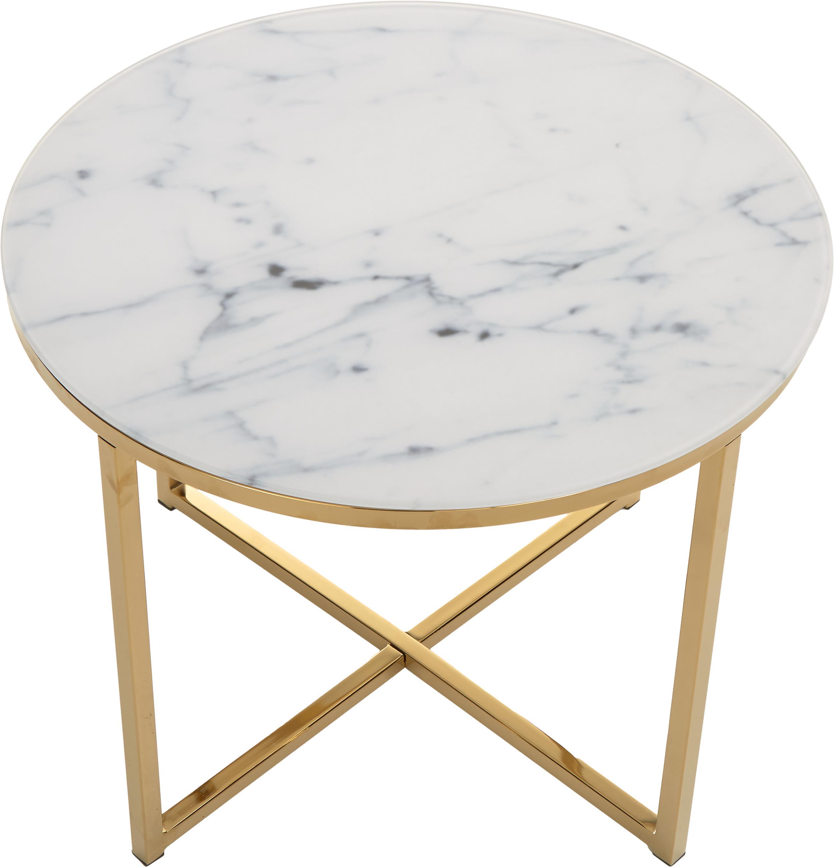 Beistelltisch Aruba mit marmorierter Glasplatte, Tischplatte: Glas, matt bedruckt, Gestell: Stahl, vermessingt, Weiß, Messing, Ø 50 x H 42 cm