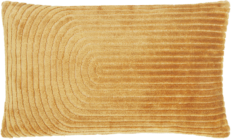 Samt-Kissenhülle Carraway, Vorderseite: 51% Polyester, 49% Viskos, Rückseite: 100% Baumwolle, Senfgelb, 30 x 50 cm